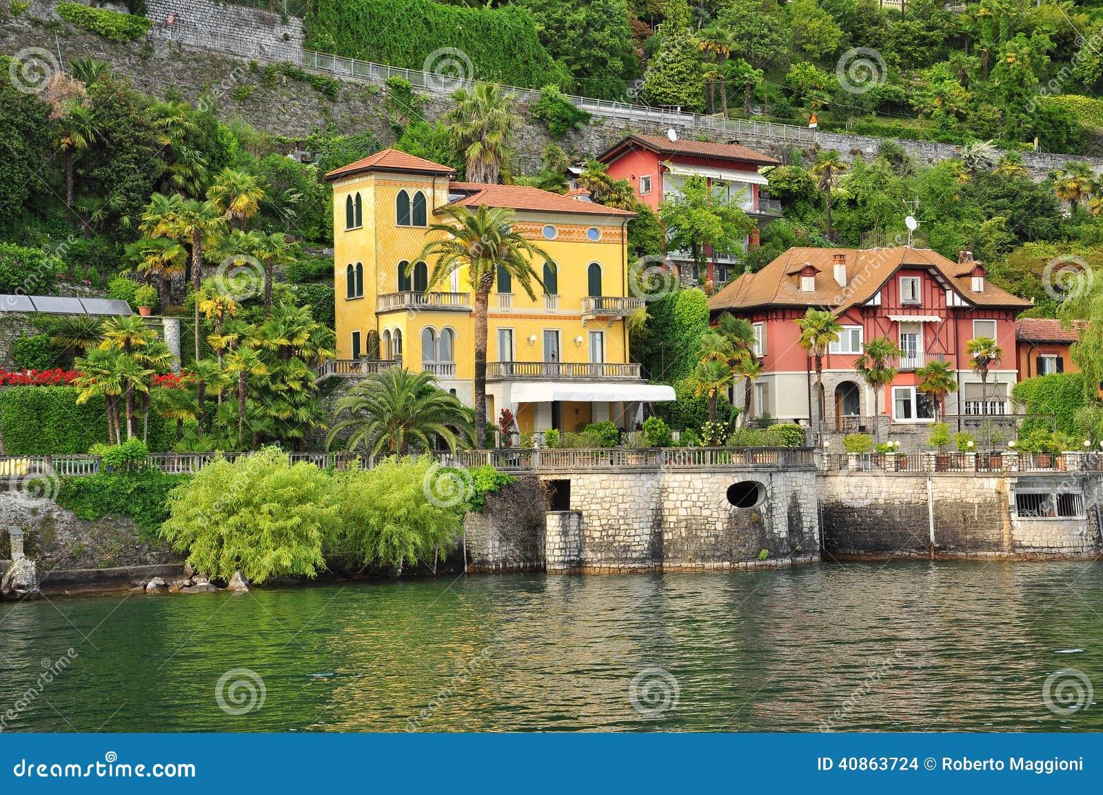 italian villas lake lago maggiore shore stock photo image 40863724. Black Bedroom Furniture Sets. Home Design Ideas