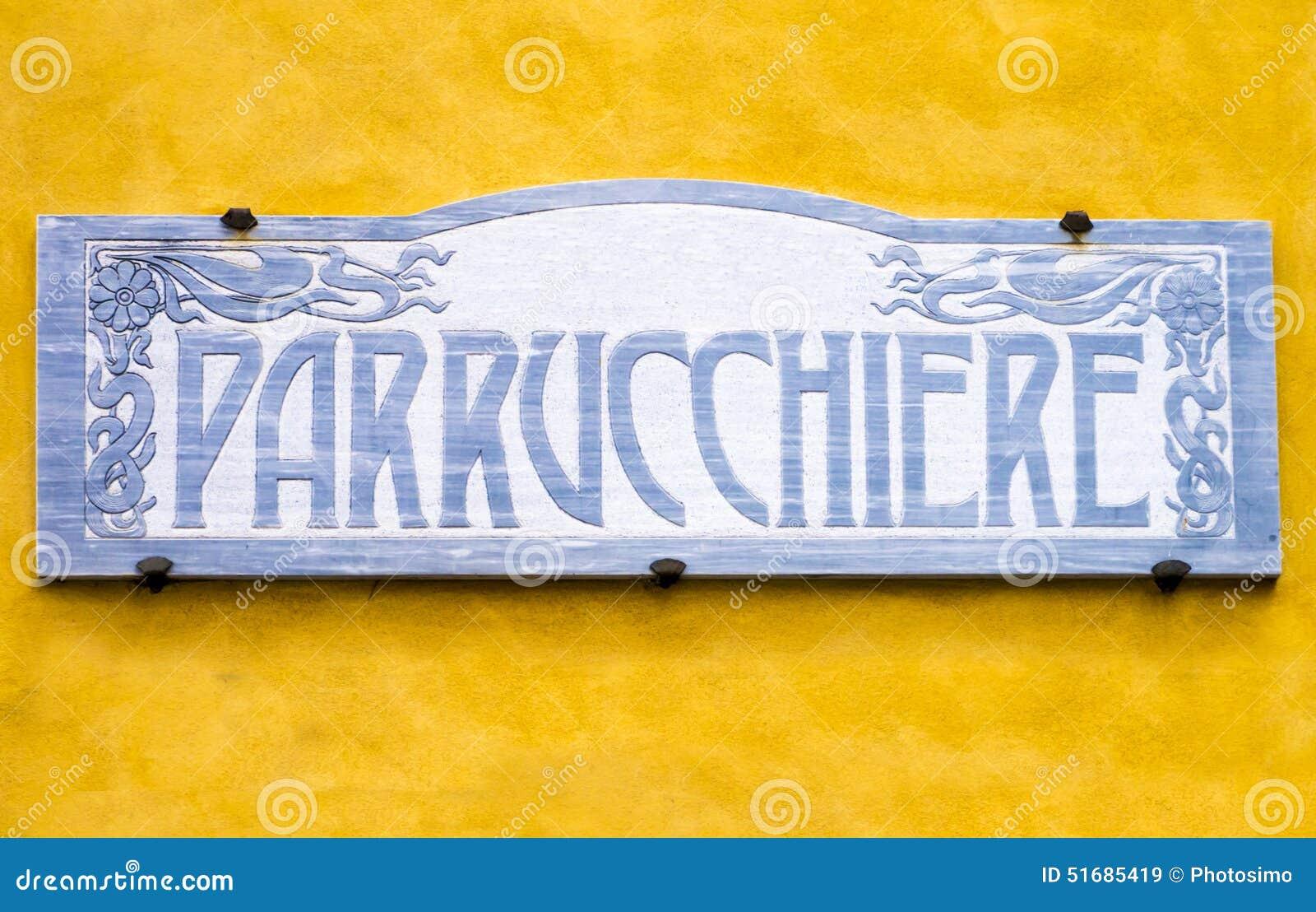 italian vintage barber shop signboard stock photo image 51685419. Black Bedroom Furniture Sets. Home Design Ideas