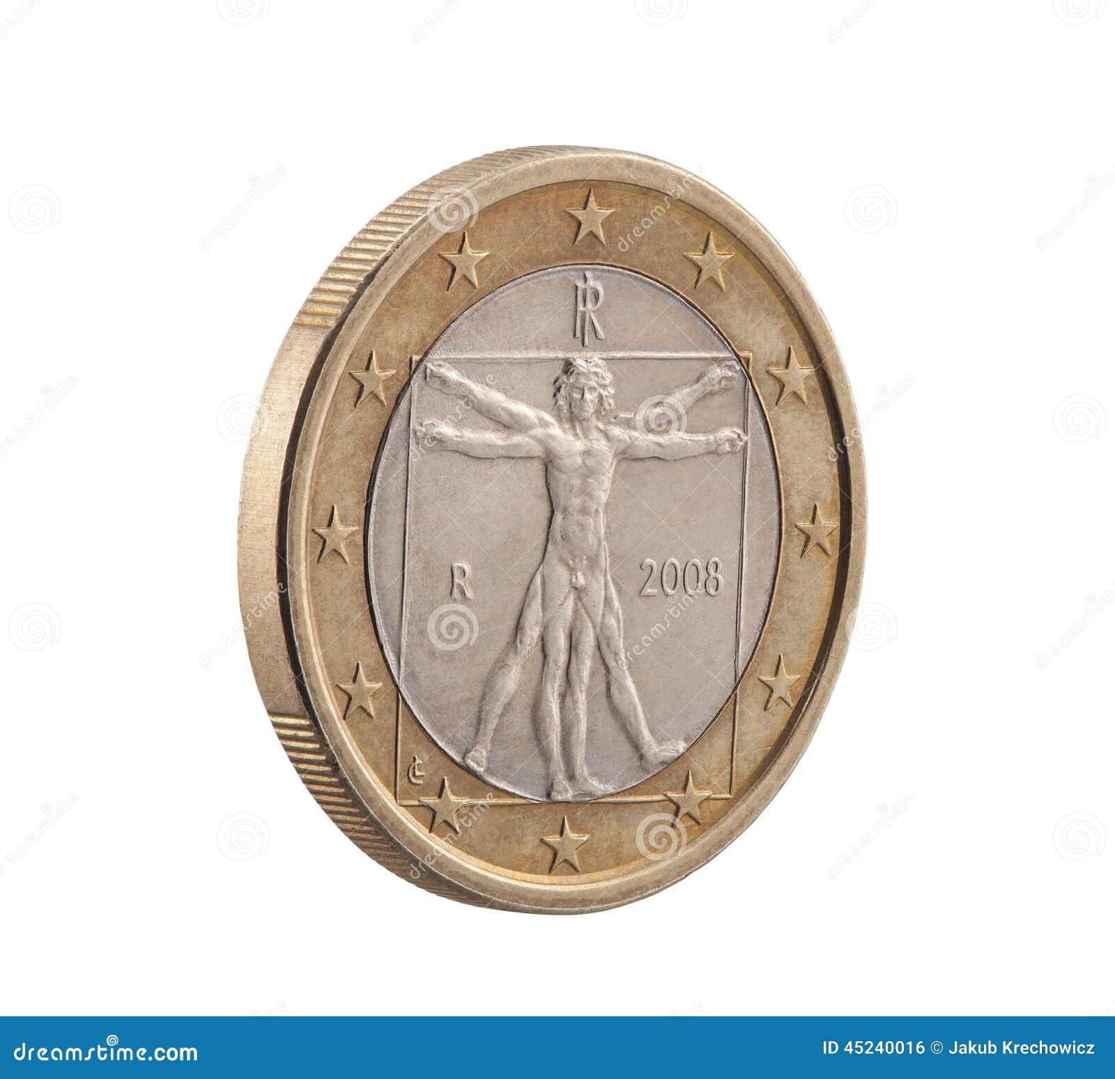 Italiano um Euro com homem de Vitruvian
