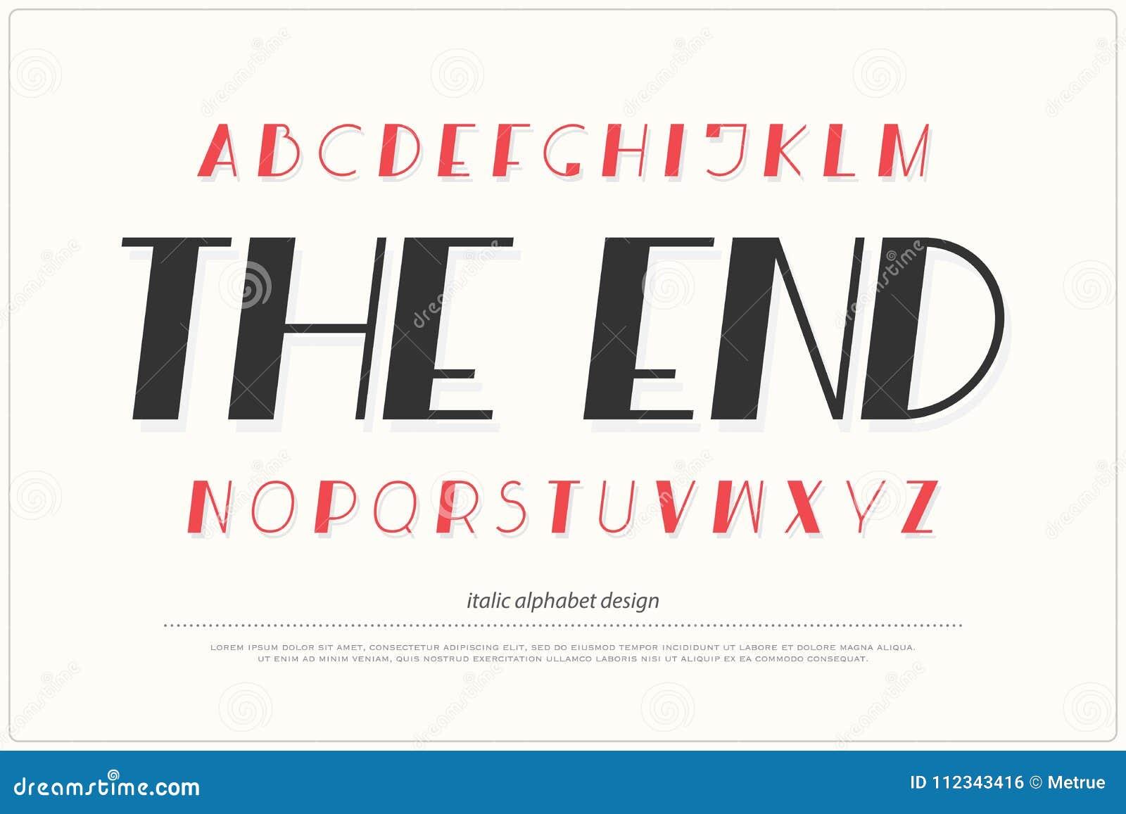 Download Italic Alphabet Letters Font Type Design Slant Lettering Symbols Stock Illustration
