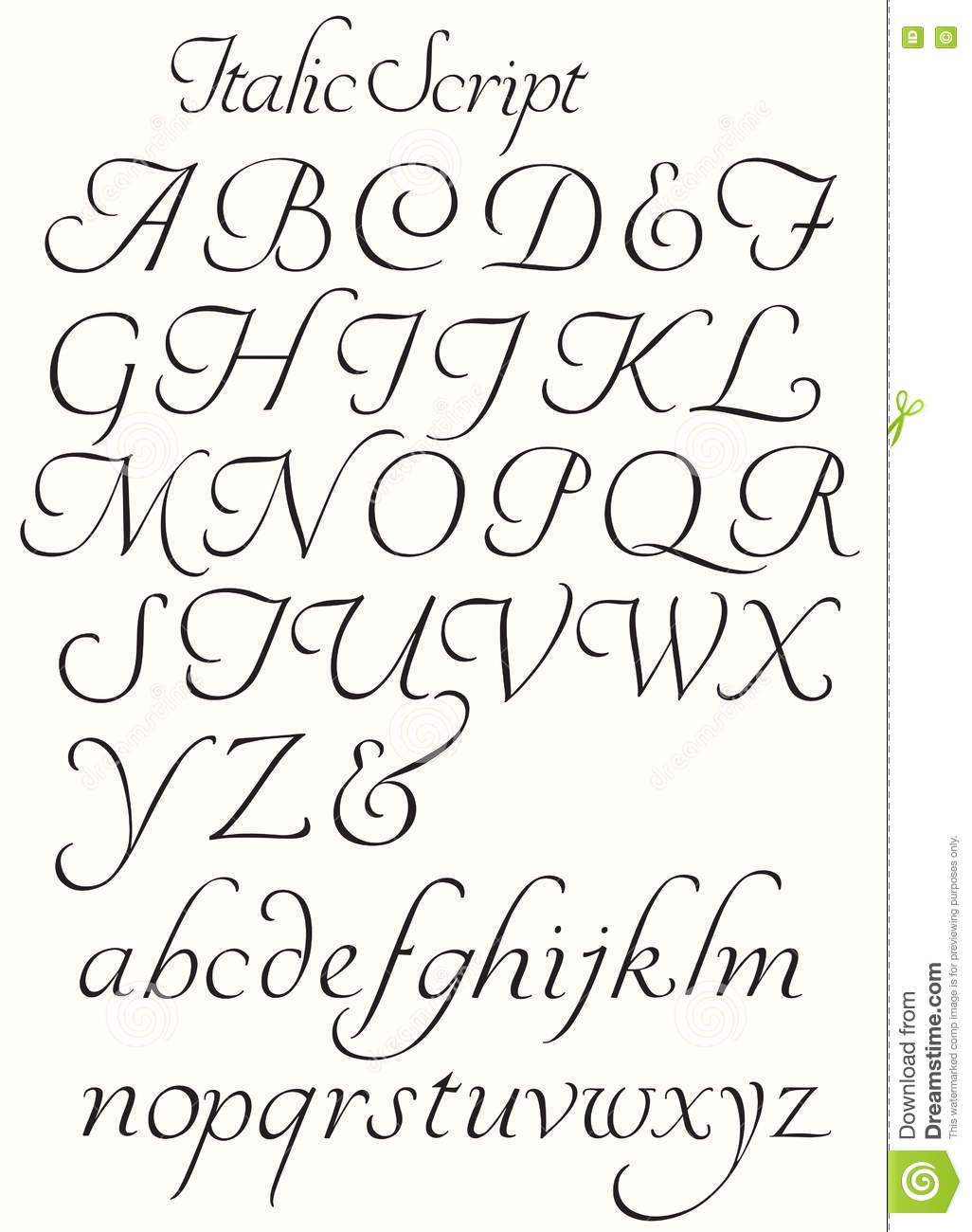 Italic Script Alphabet Capitals And Small Letters