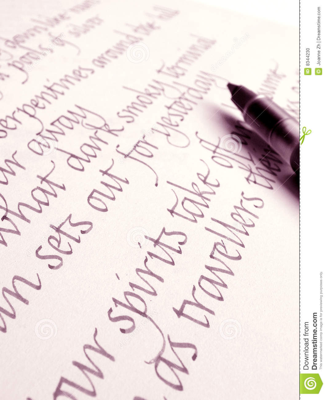 Italics handwriting calligraphy ink pen on paper stock Handwriting calligraphy