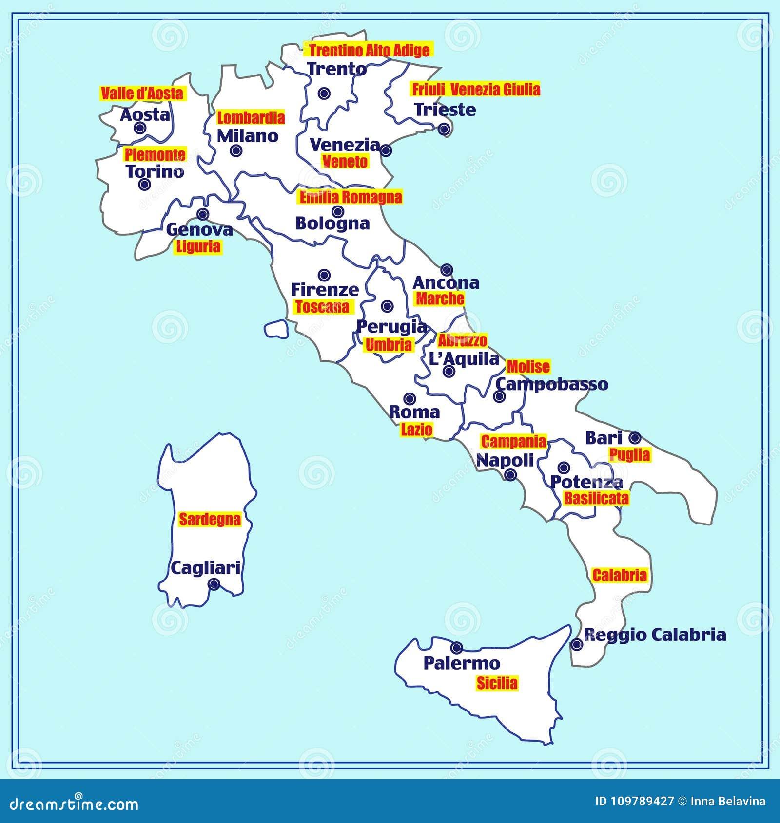 Italien Oversikt Med Italienska Regioner Illustration Stock