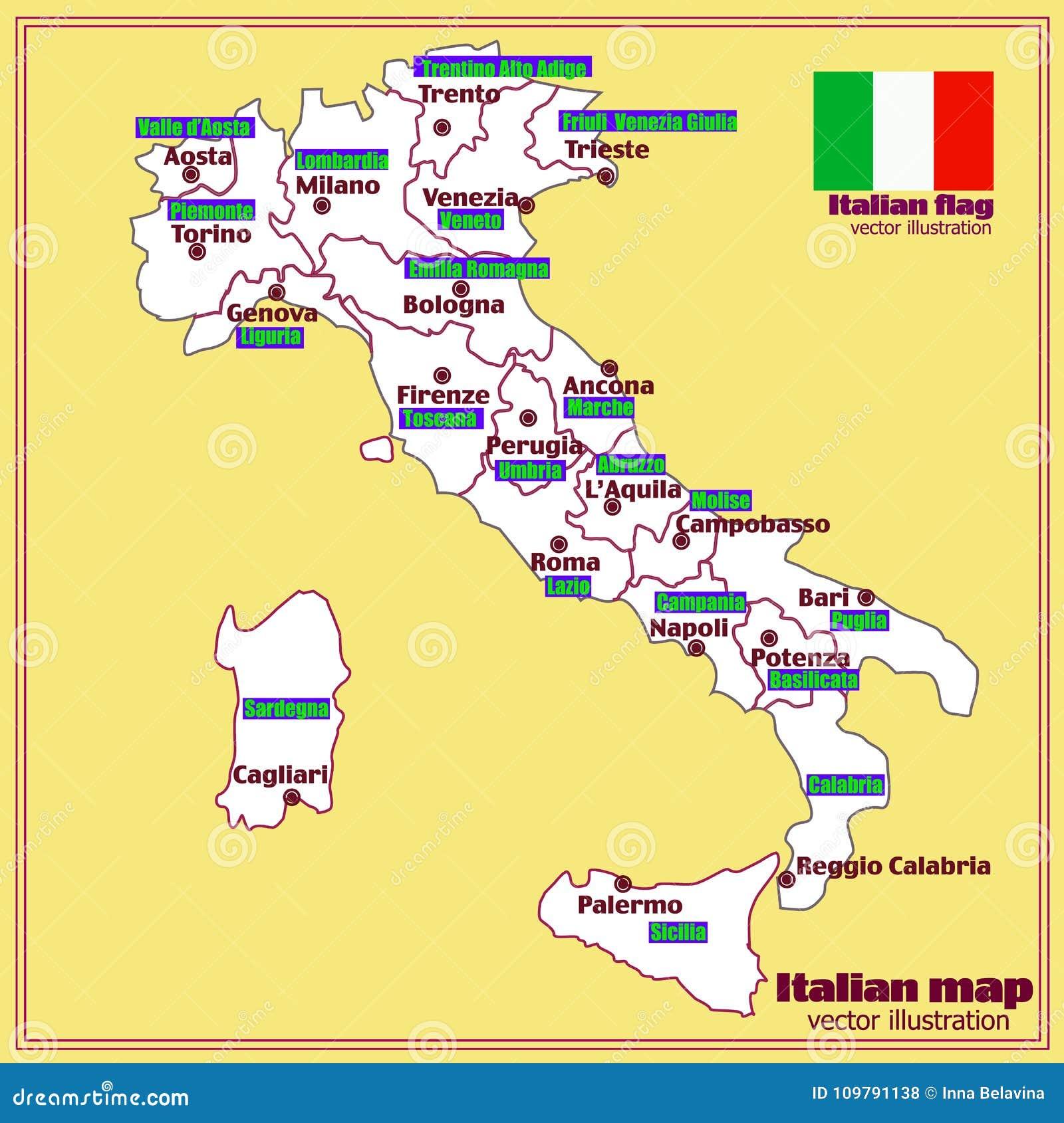 Italien Oversikt Med Italienska Regioner Vektor Vektor