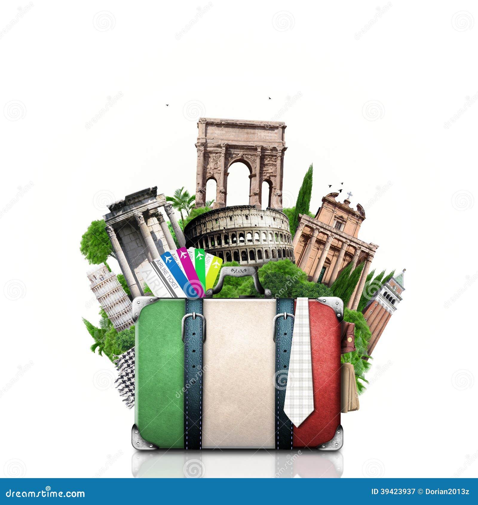Italien, dragningar Italien och retro resväska