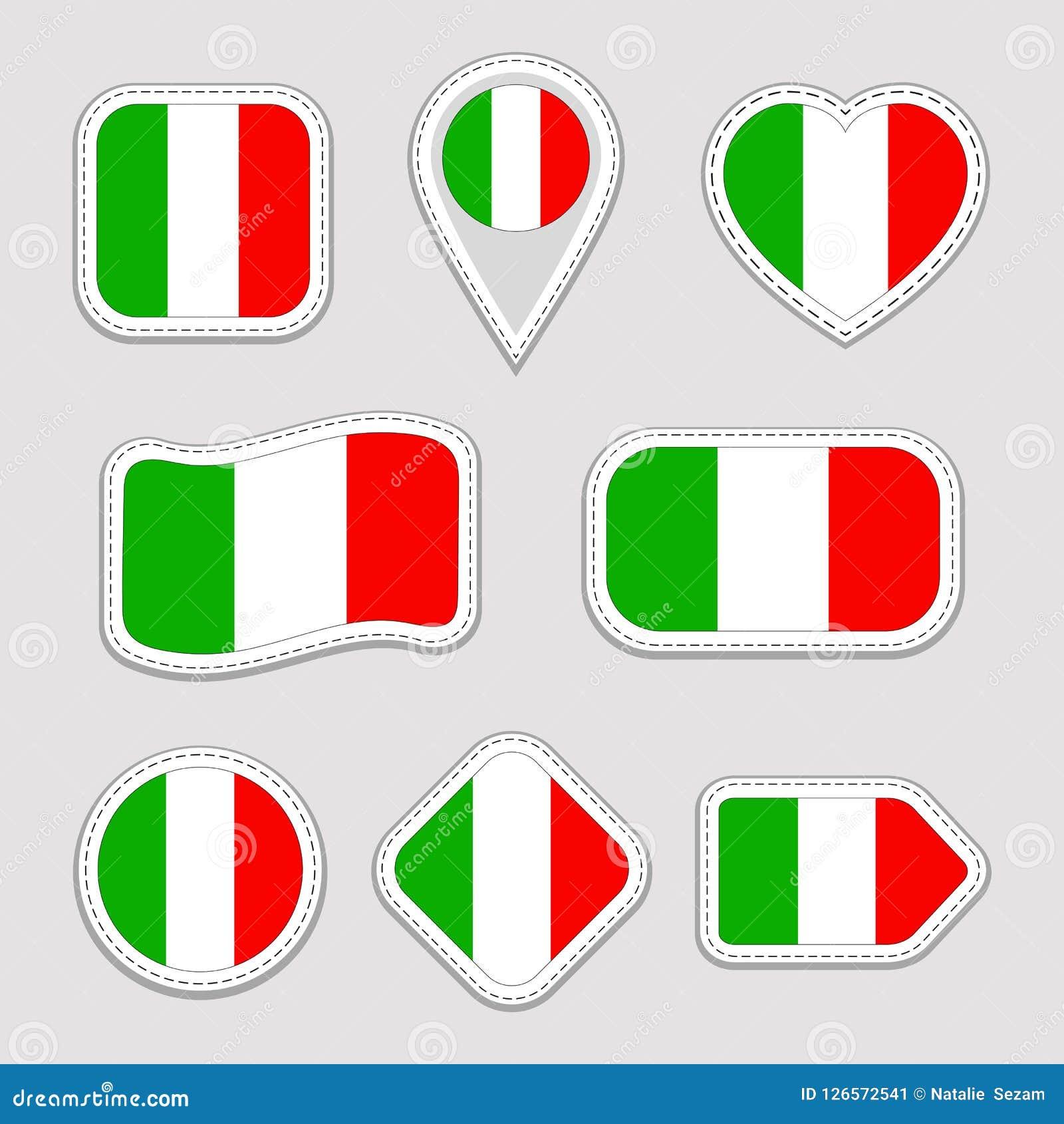 Italien-Flaggen-Vektor-Satz Italienische Staatsflaggeaufklebersammlung Lokalisierte Ikonen Traditionelle Farben Abbildung Netz, S