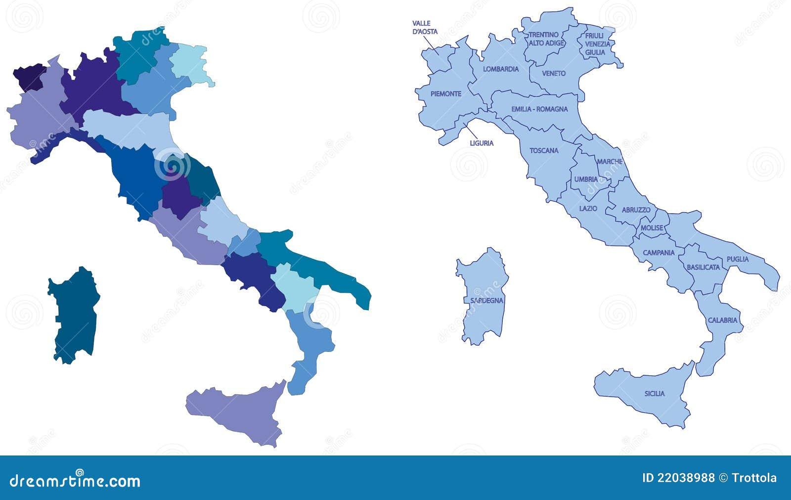 Italien Karte Regionen.Italien Karte Mit Regionen Stock Abbildung Illustration Von Weiß