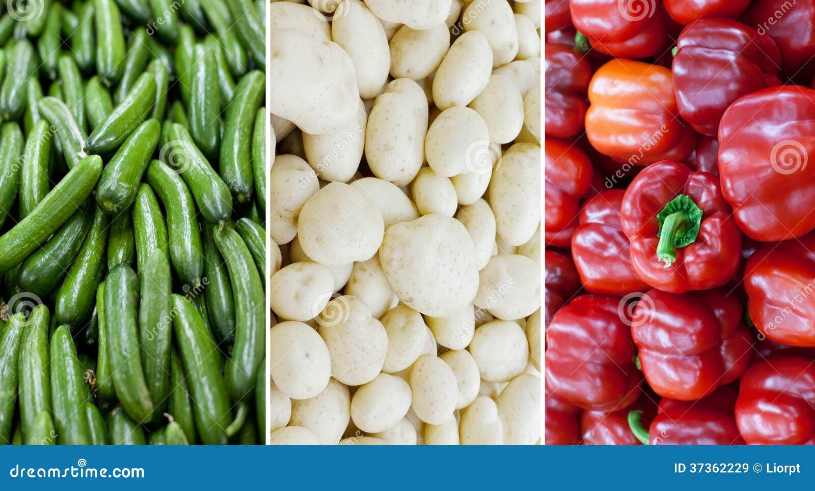 Italien nationsflagga som göras av gurkor, potatisar och röda spanska peppar