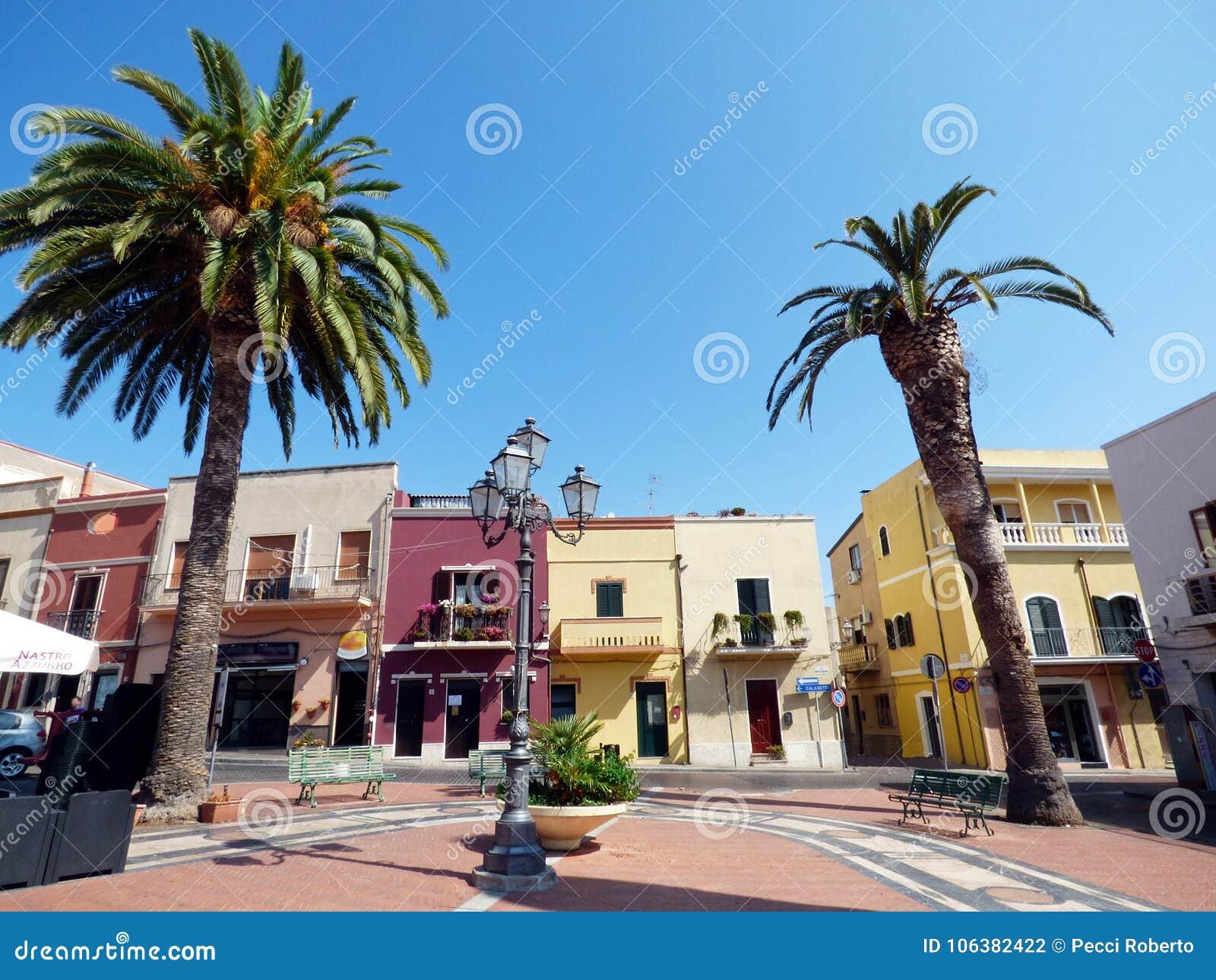 Italien, Sardinien, Sant Antioco, der Haupt-squareannai Turm