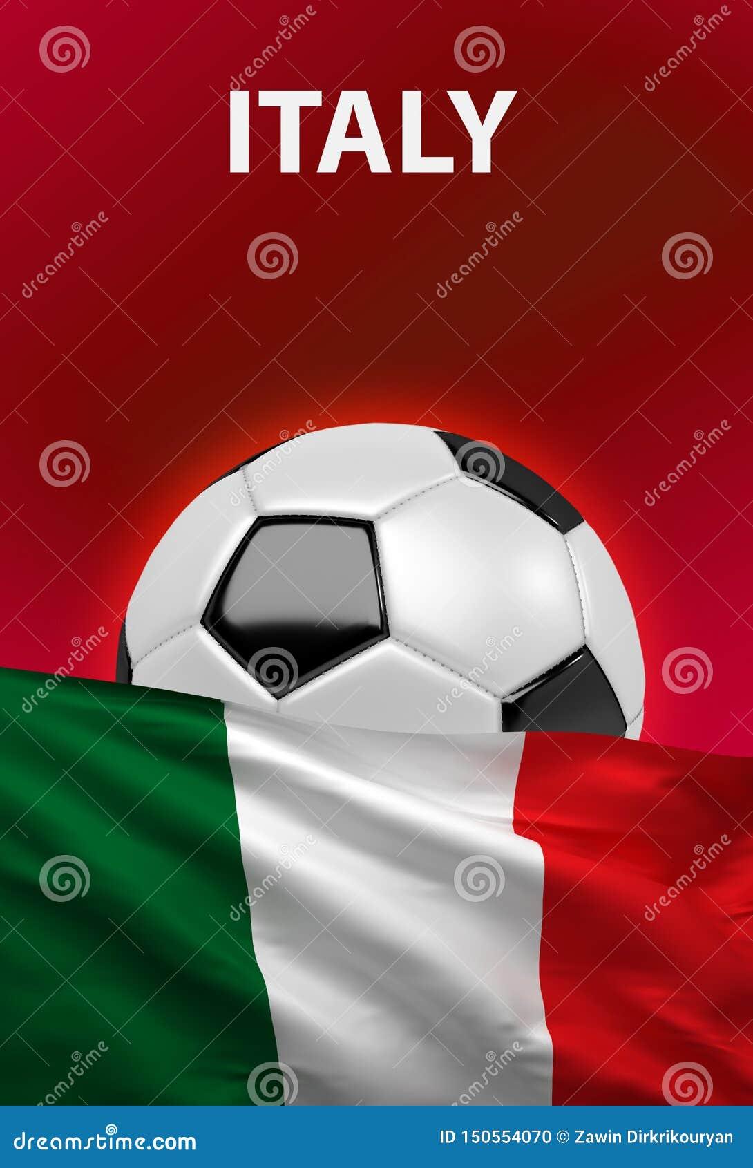 Italienische Flagge, Italien-Fußball, Fußball, 3D übertragen