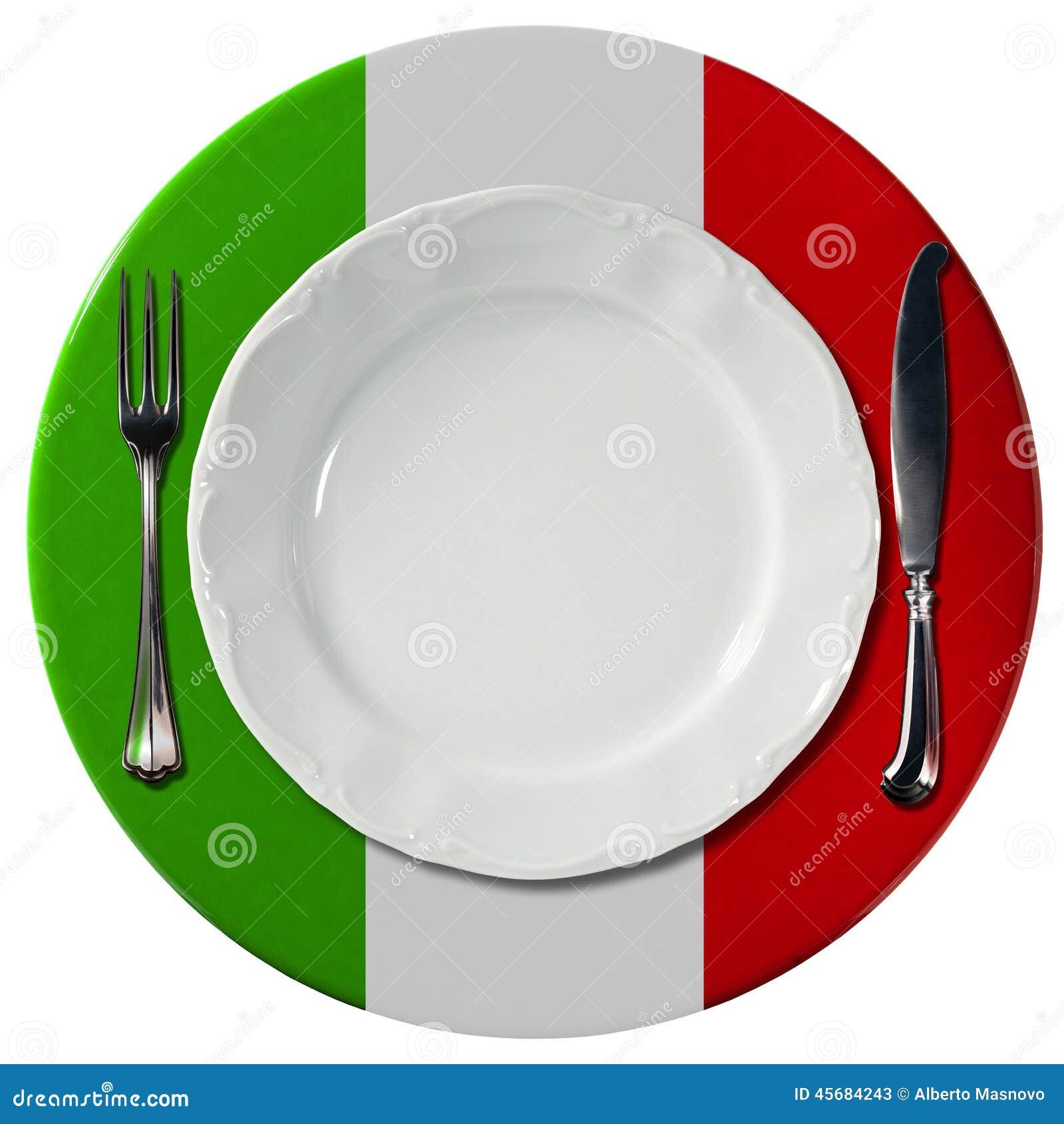 italienische küche - platte und tischbesteck stock abbildung