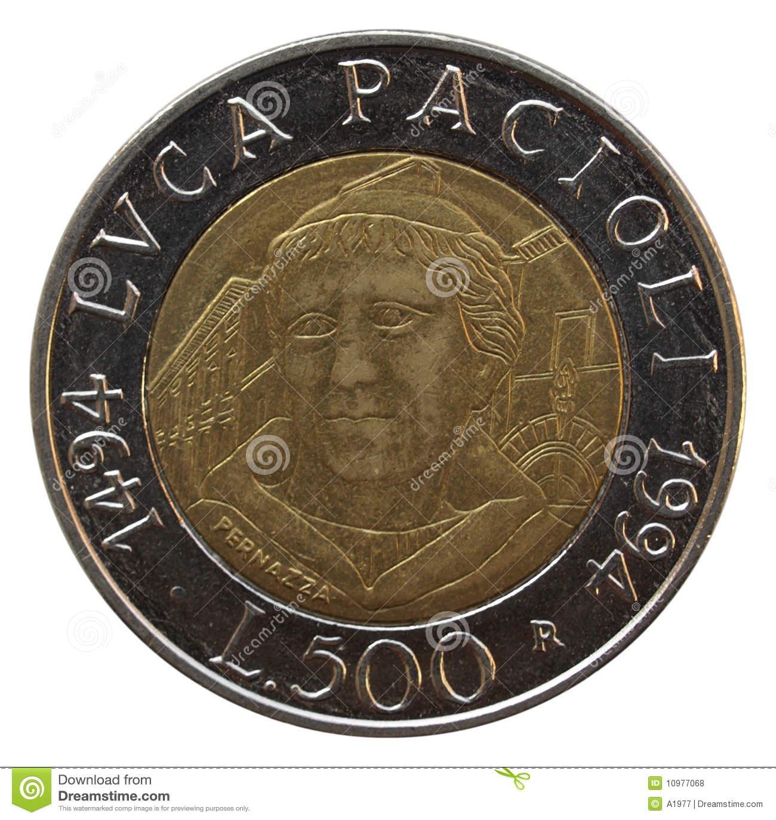 Italienische lira prägt mit portrait luca pacioli mathematiker ein