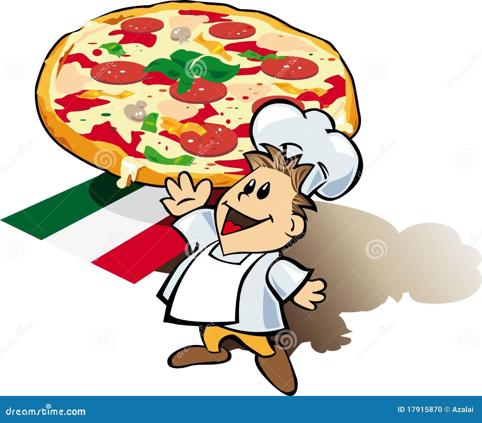 Italienischer chefkoch mit pizzariesen vektor abbildung for Kochen italienisch