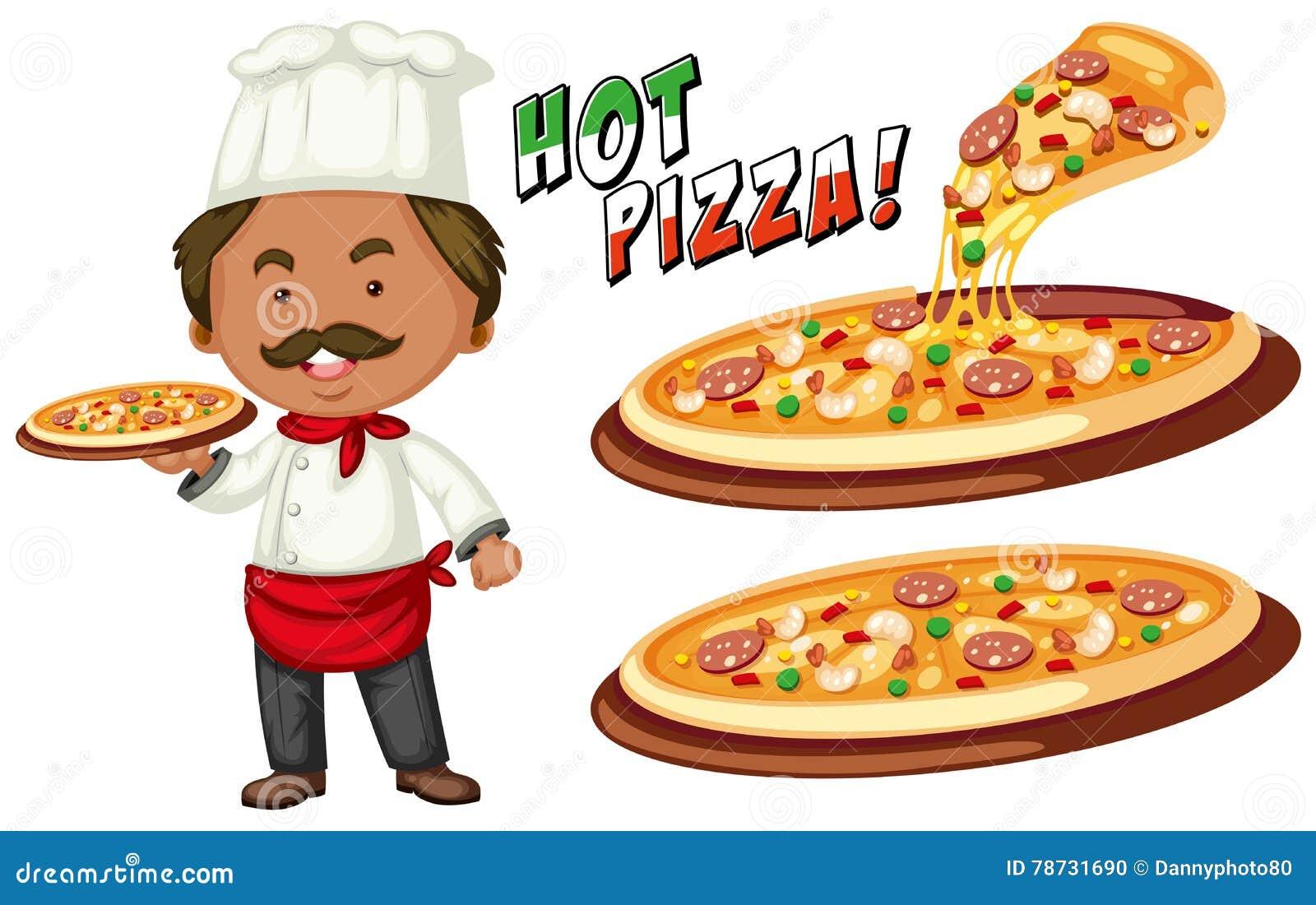Italiensk kock och varm pizza