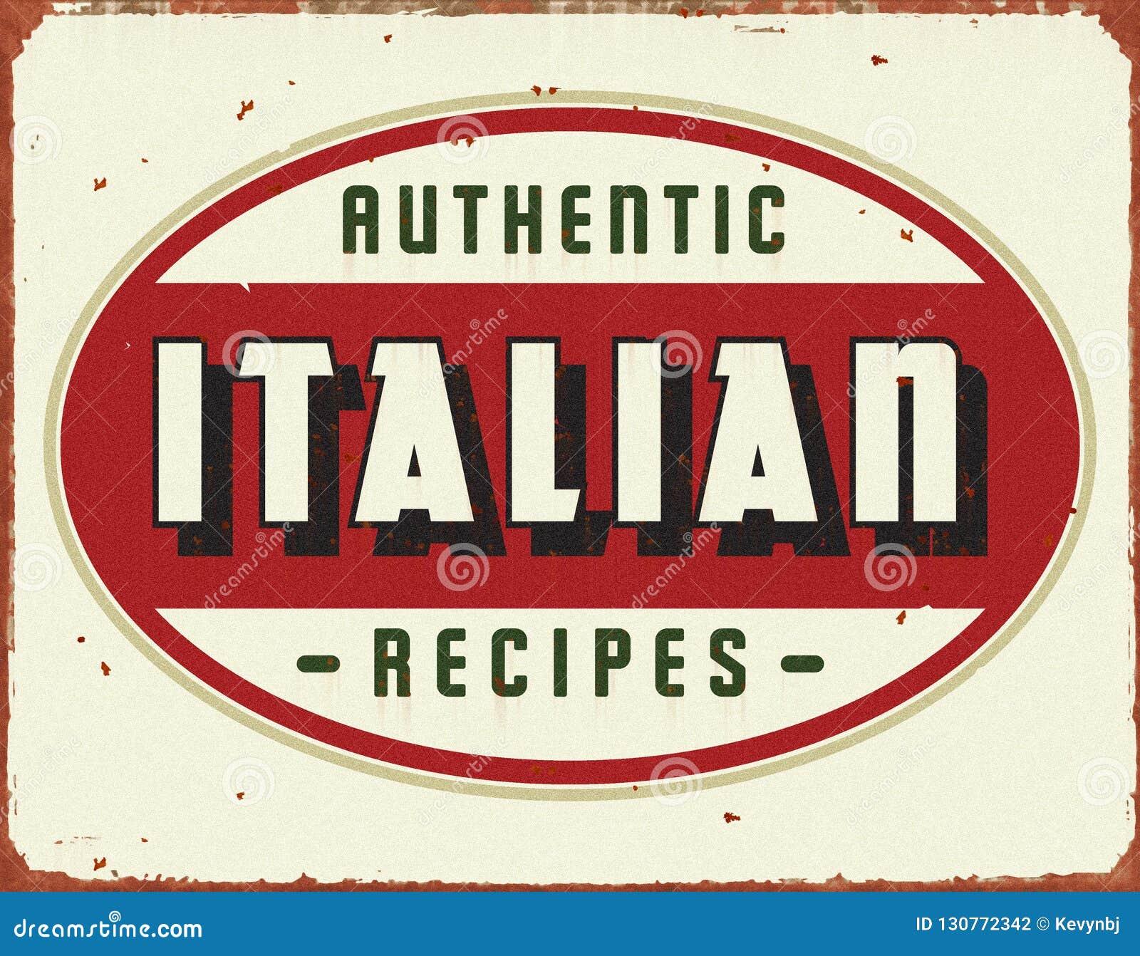 Italiensk laga mat tappning Tin Sign
