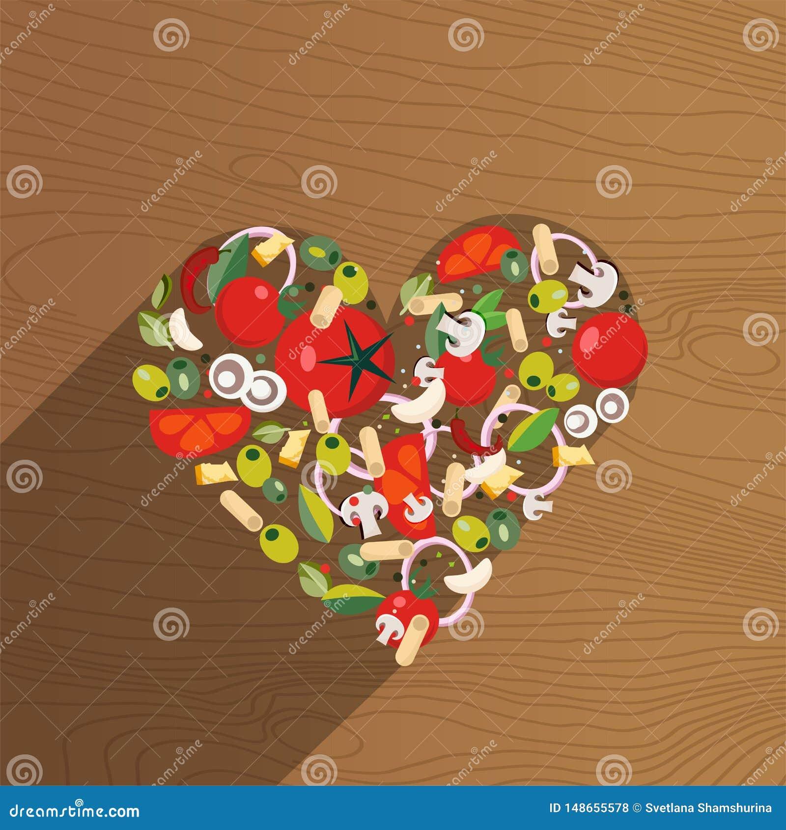 Italiensk mat f?r hj?rtaform Ingrediens-tomat oliv, l?k, champinjon, pasta, ost, chili, vitl?k p? tr?bakgrund