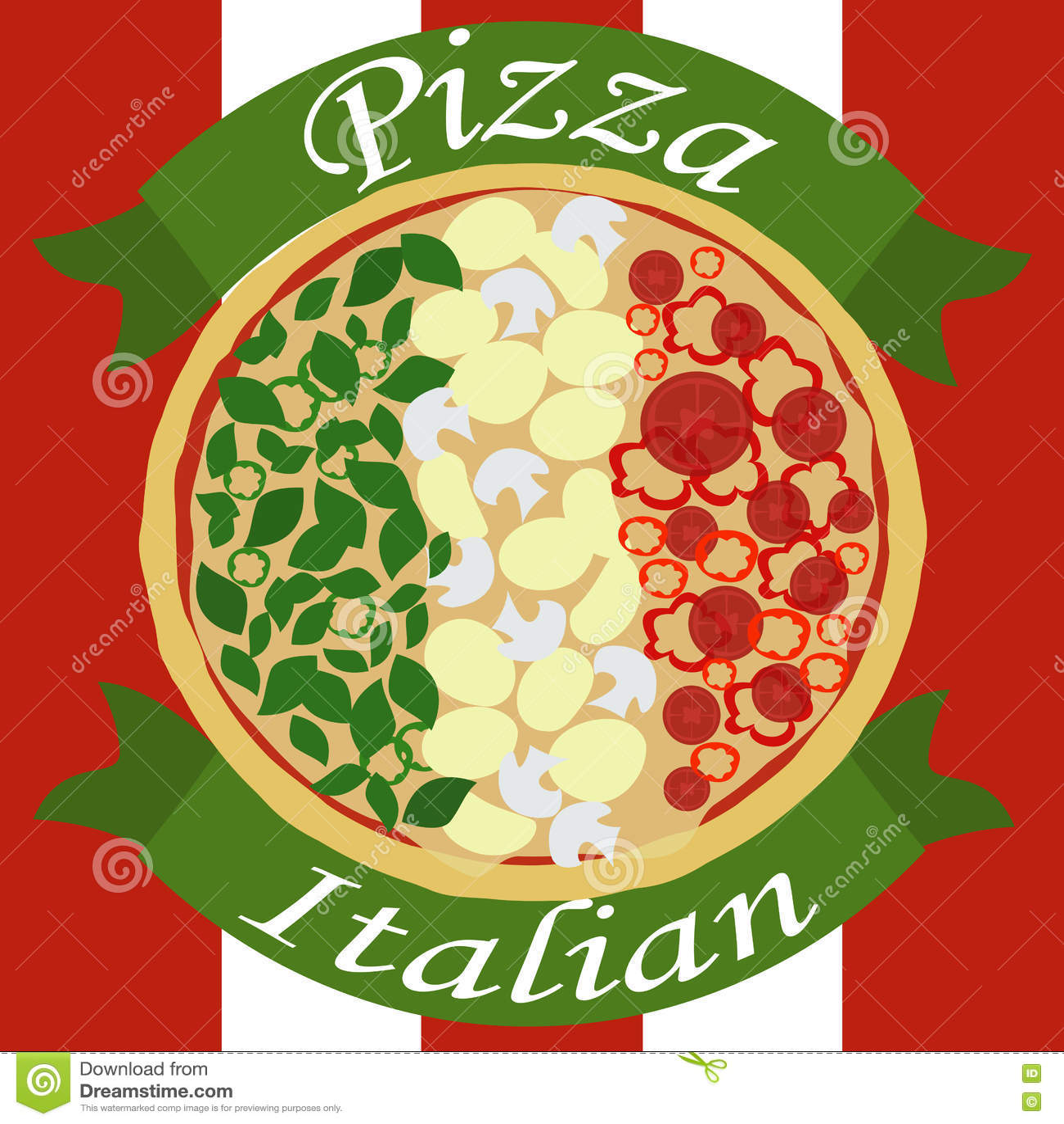 Italiensk pizza som en italiensk flagga