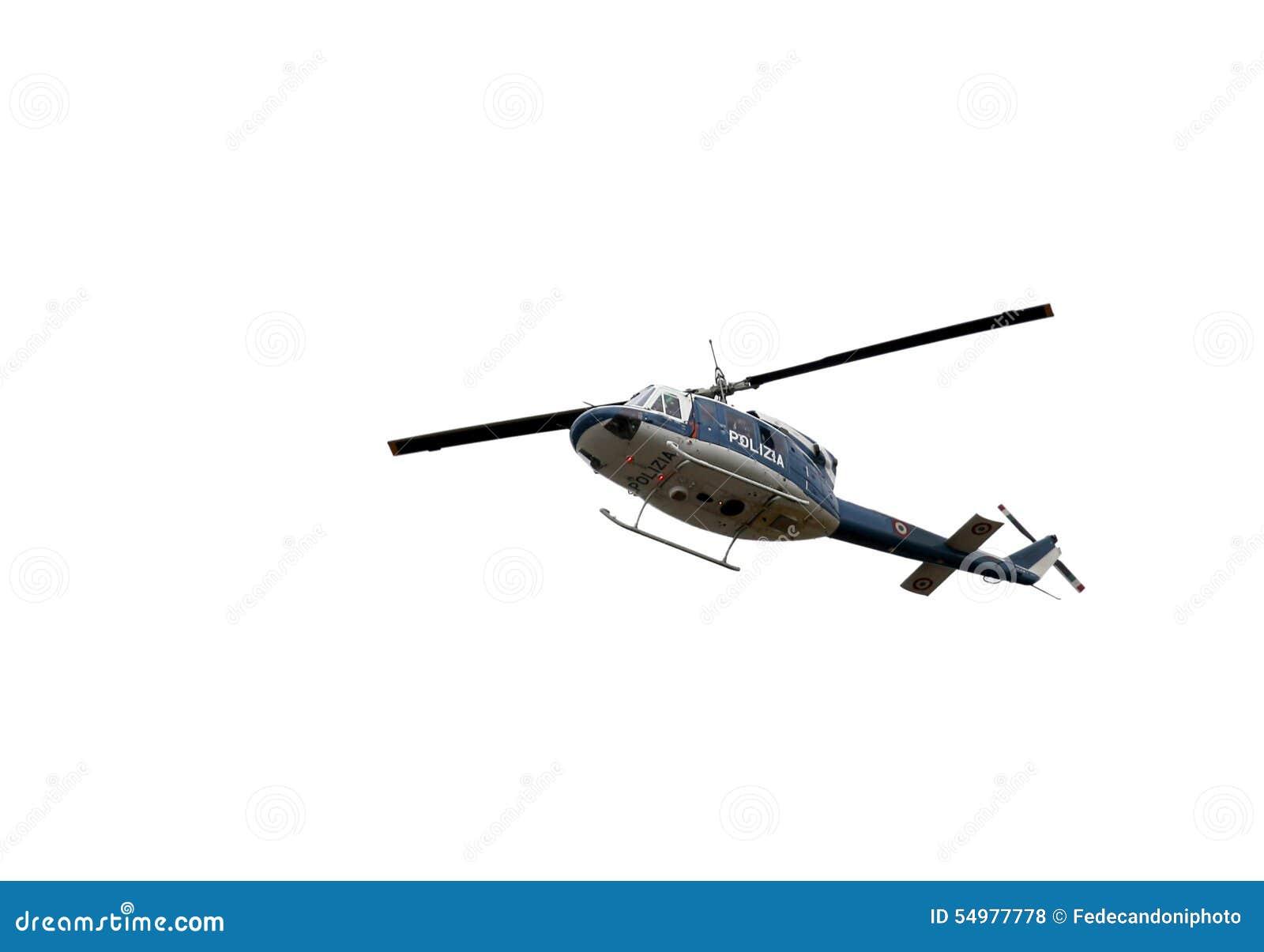 Italiensk polishelikopter som flyger över staden
