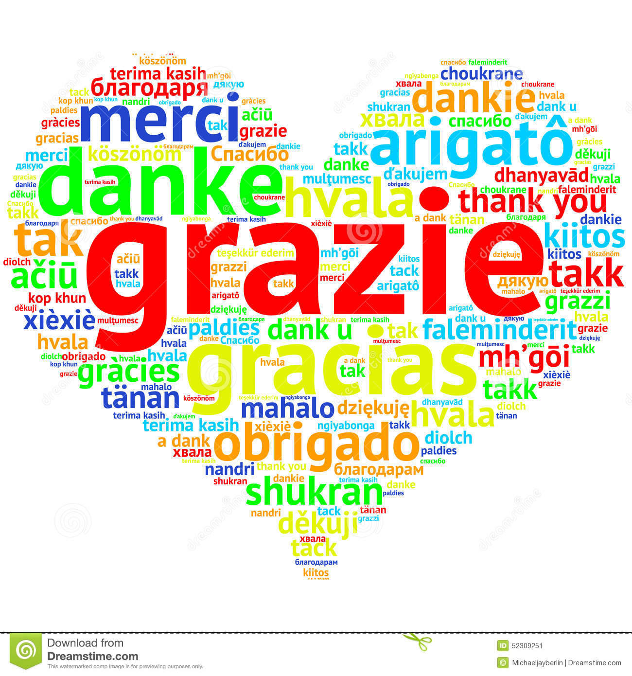 Italin: Grazie, Heart Shaped Word Cloud Thanks, On White Stock ...