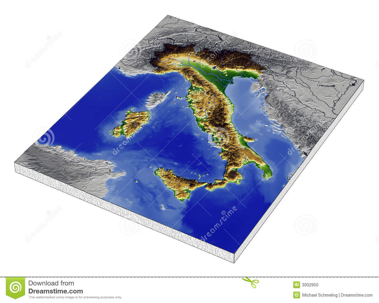 Map Of North West Italy.Italy 3d Relief Map Stock Illustration Illustration Of Topography