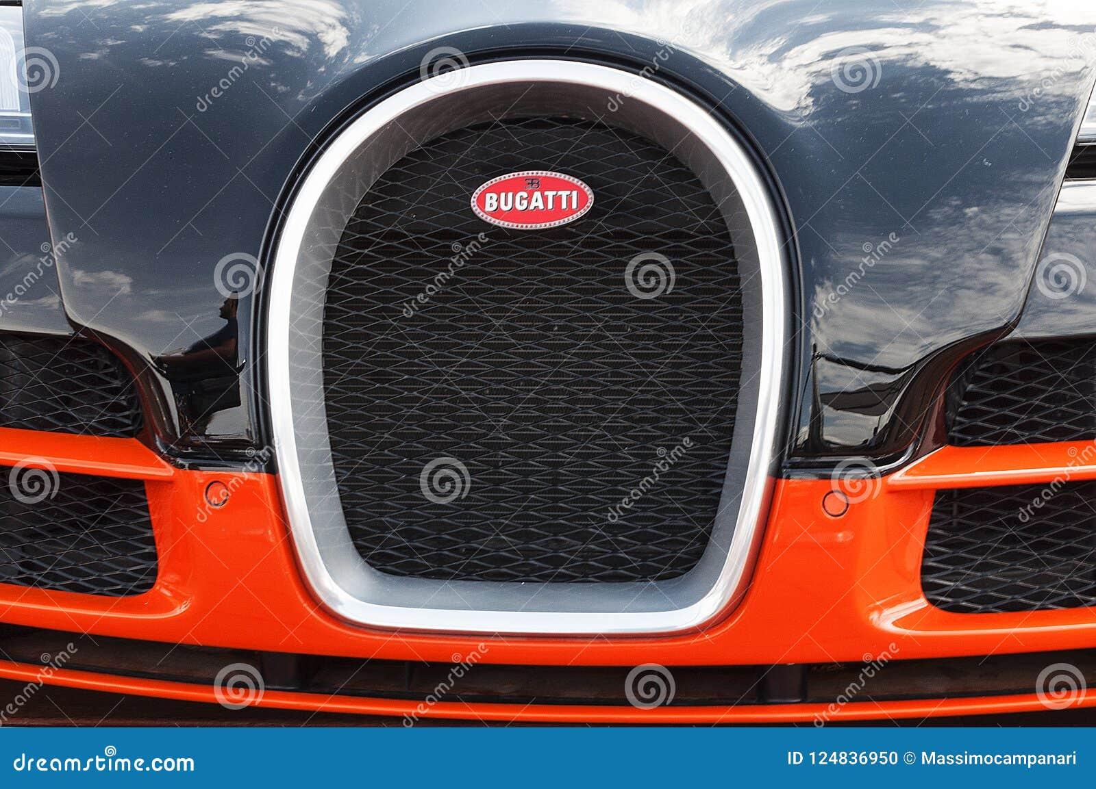 bugatti veyron on display at porto cervo in sardinia. the bugatti is