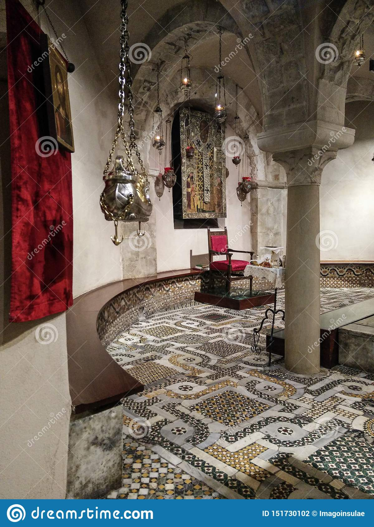 Italy. Bari. Basilica of San Nicola. Glimpse of the Crypt where the venerated relics of the Saint are kept