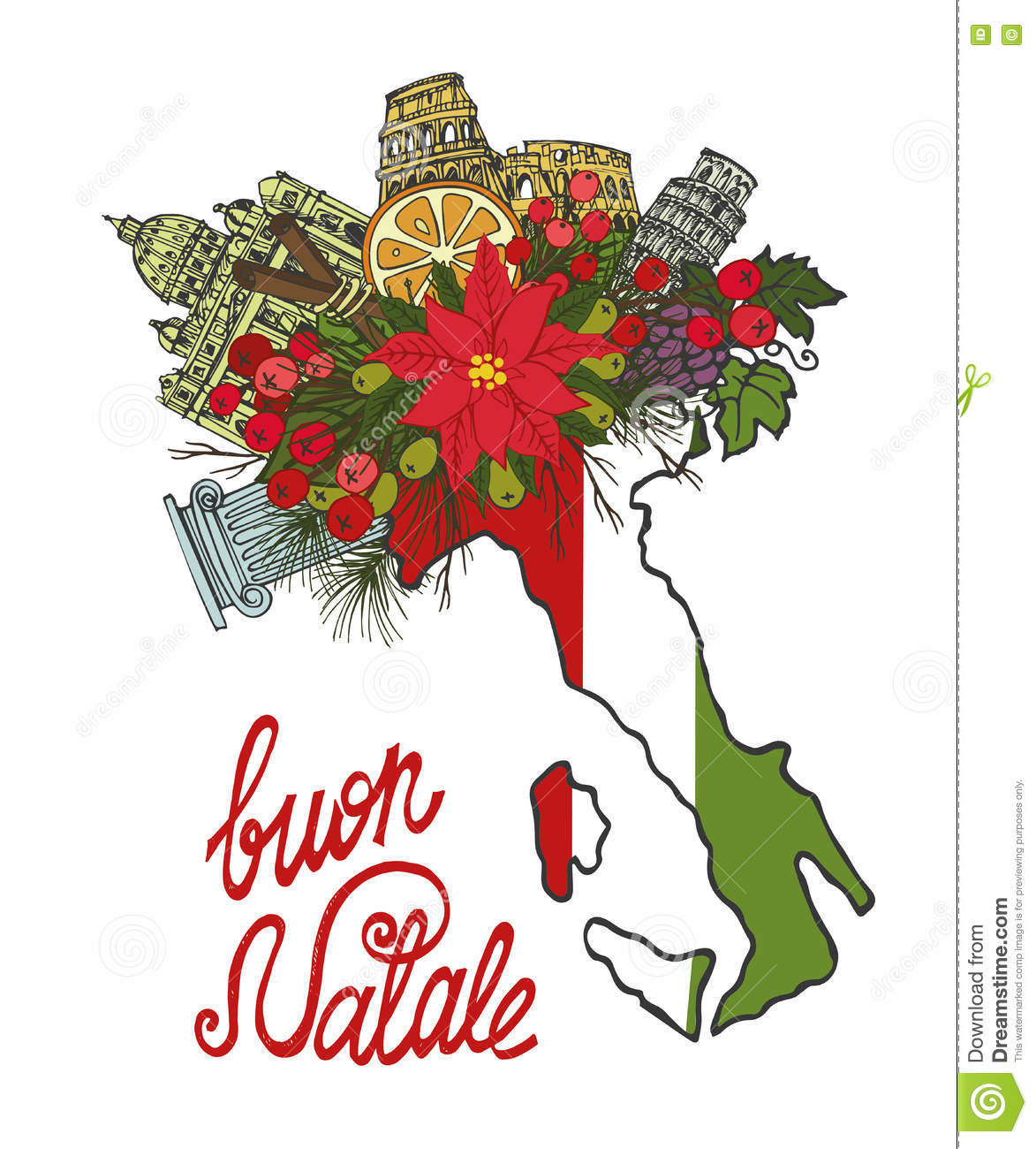 Italy christmas cardhand drawn doodle map stock vector download italy christmas cardhand drawn doodle map stock vector illustration of italian m4hsunfo