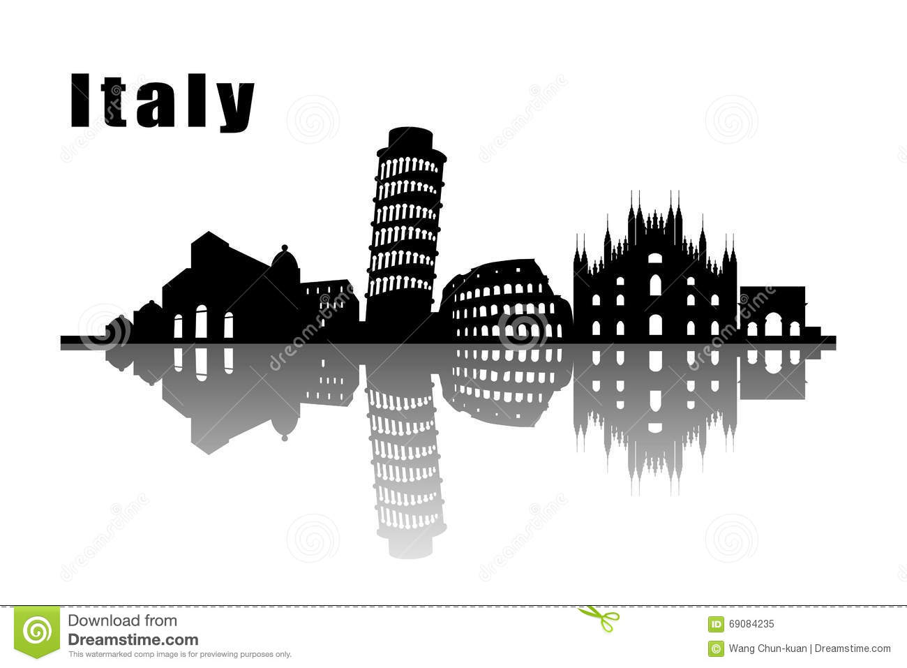 Travel Italy Destination Landmarks Skyline Background Stock Vector ...