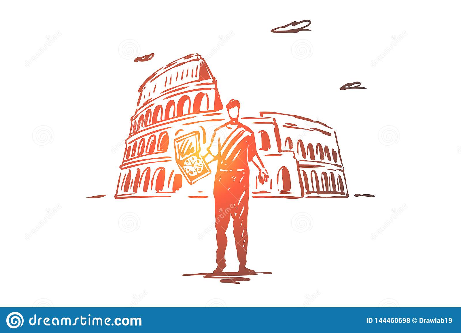 Italy Country Pizza Colosseum Rome Concept Hand Drawn