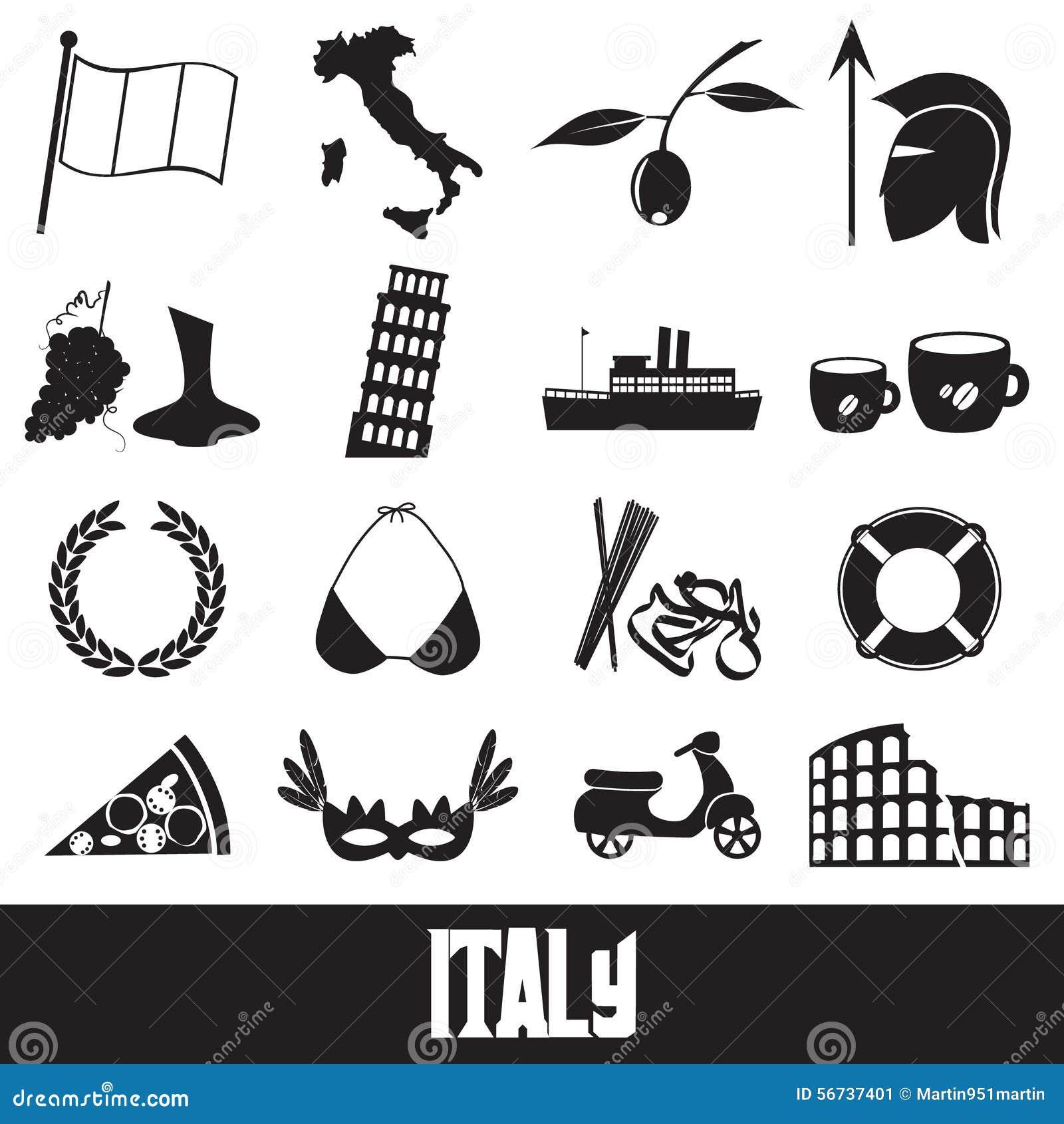 Italy Country Theme Symbols And Icons Set Eps10 Stock Illustration