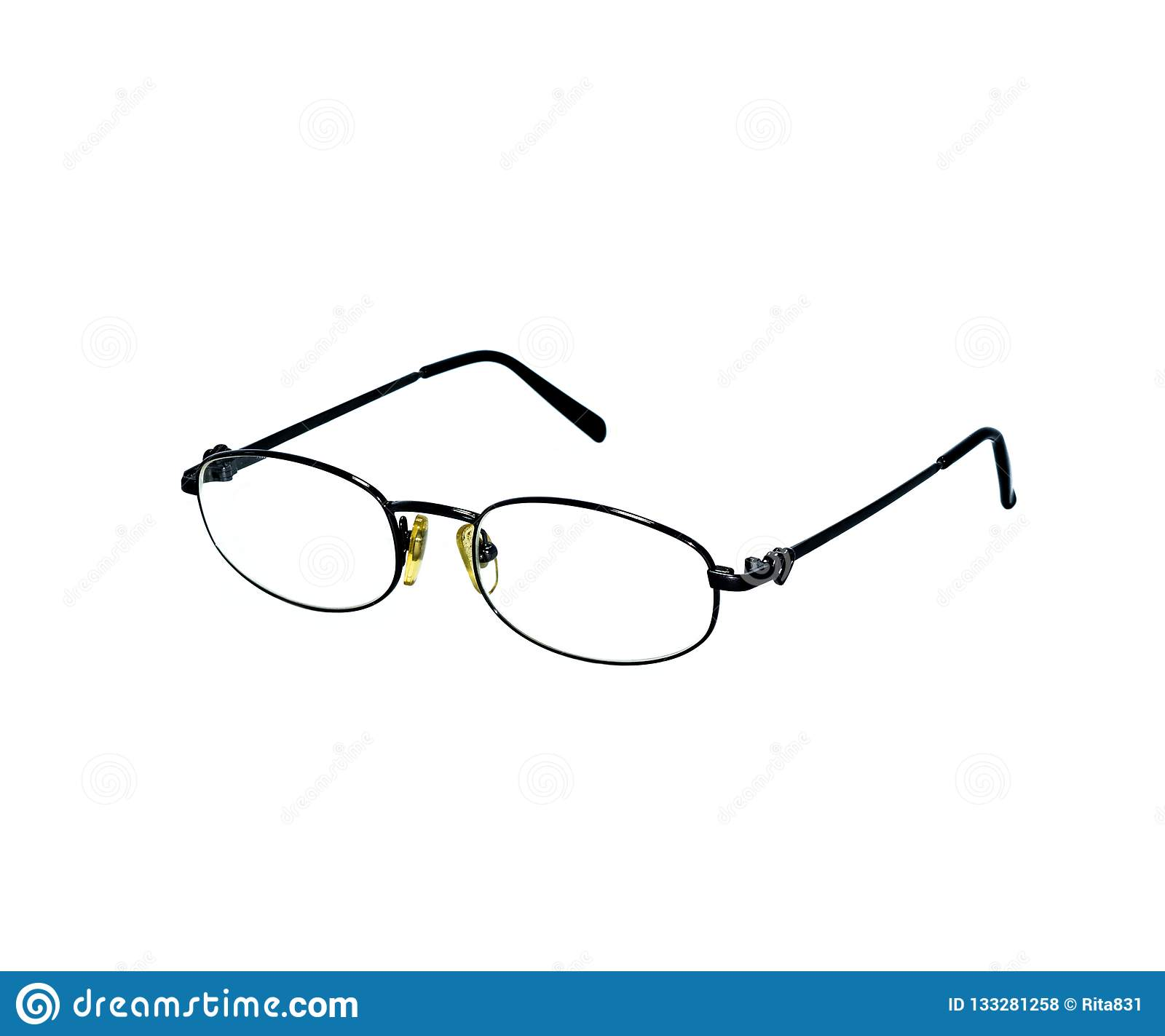 04e4bfce61 Metal Black Glasses In Thin Frame Isolated On White Background Stock ...