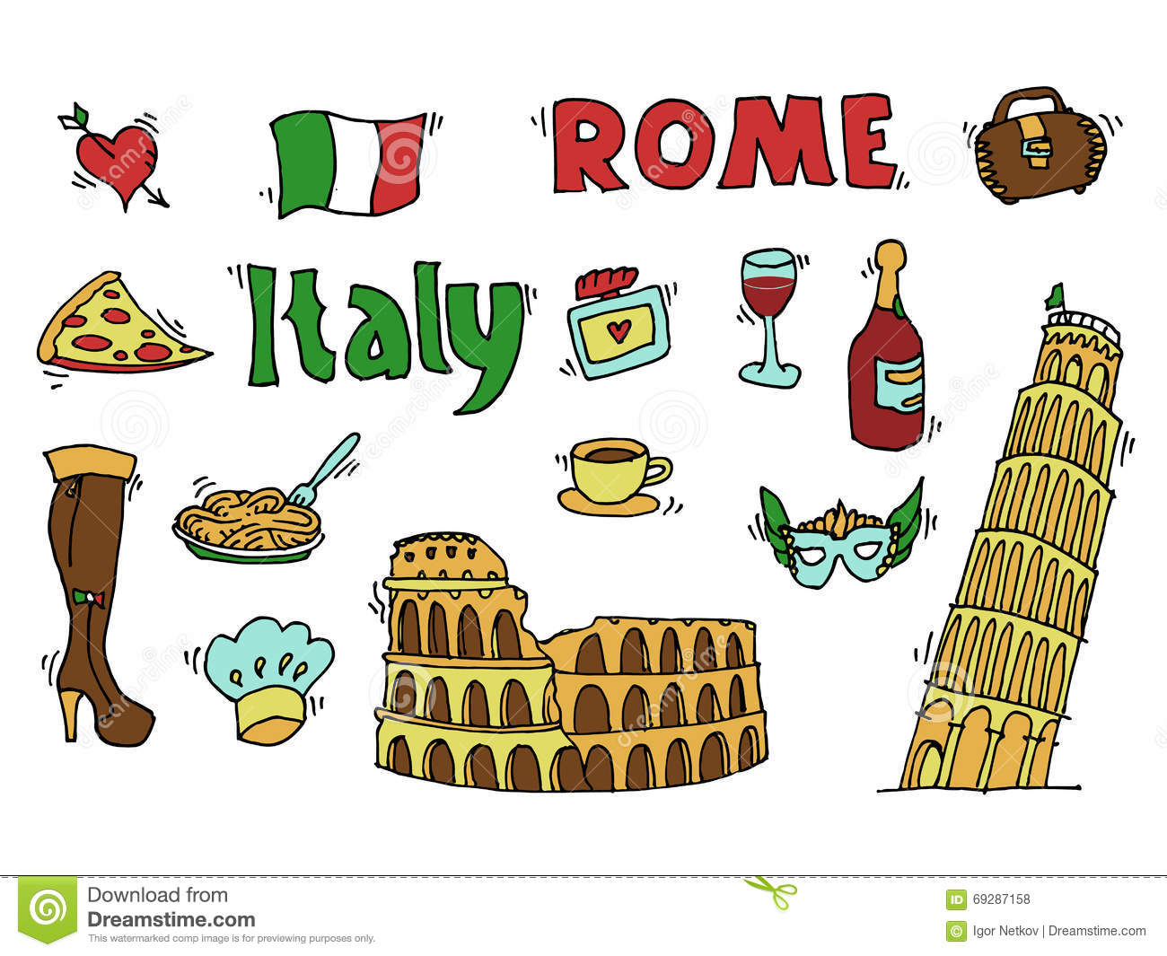 Italy Doodle Set Stock Vector Image 69287158