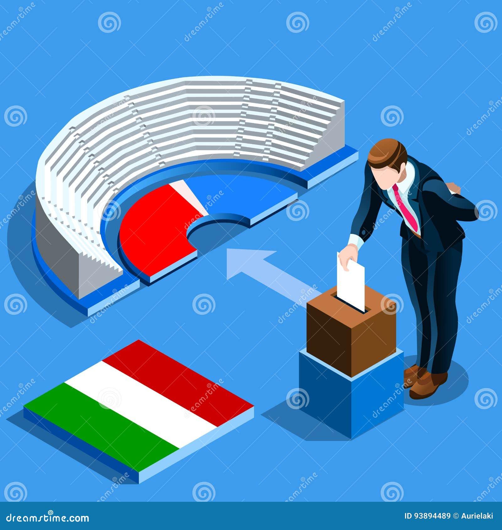 Italy Election Italian People Vote at Isometric Ballot Box