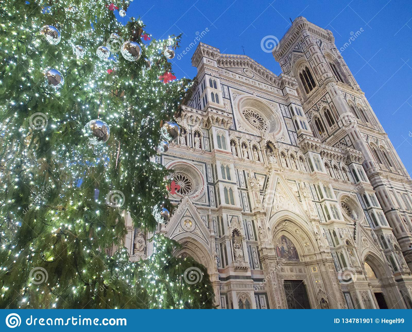 Christmas In Florence Italy.Italy Florence The Cathedral And Christmas Tree Stock