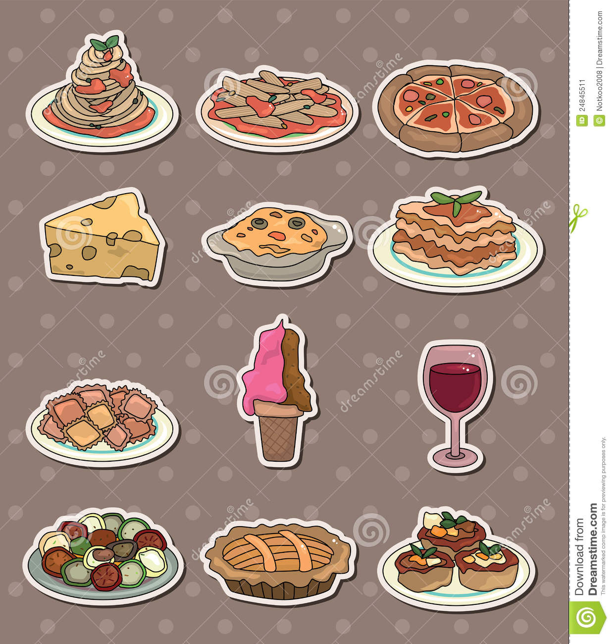 italy food stickers stock image image 24845511. Black Bedroom Furniture Sets. Home Design Ideas
