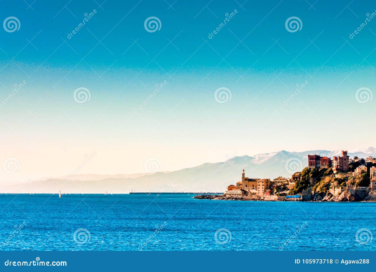 Italy, Genoa`a landmark Boccadasse winter time.