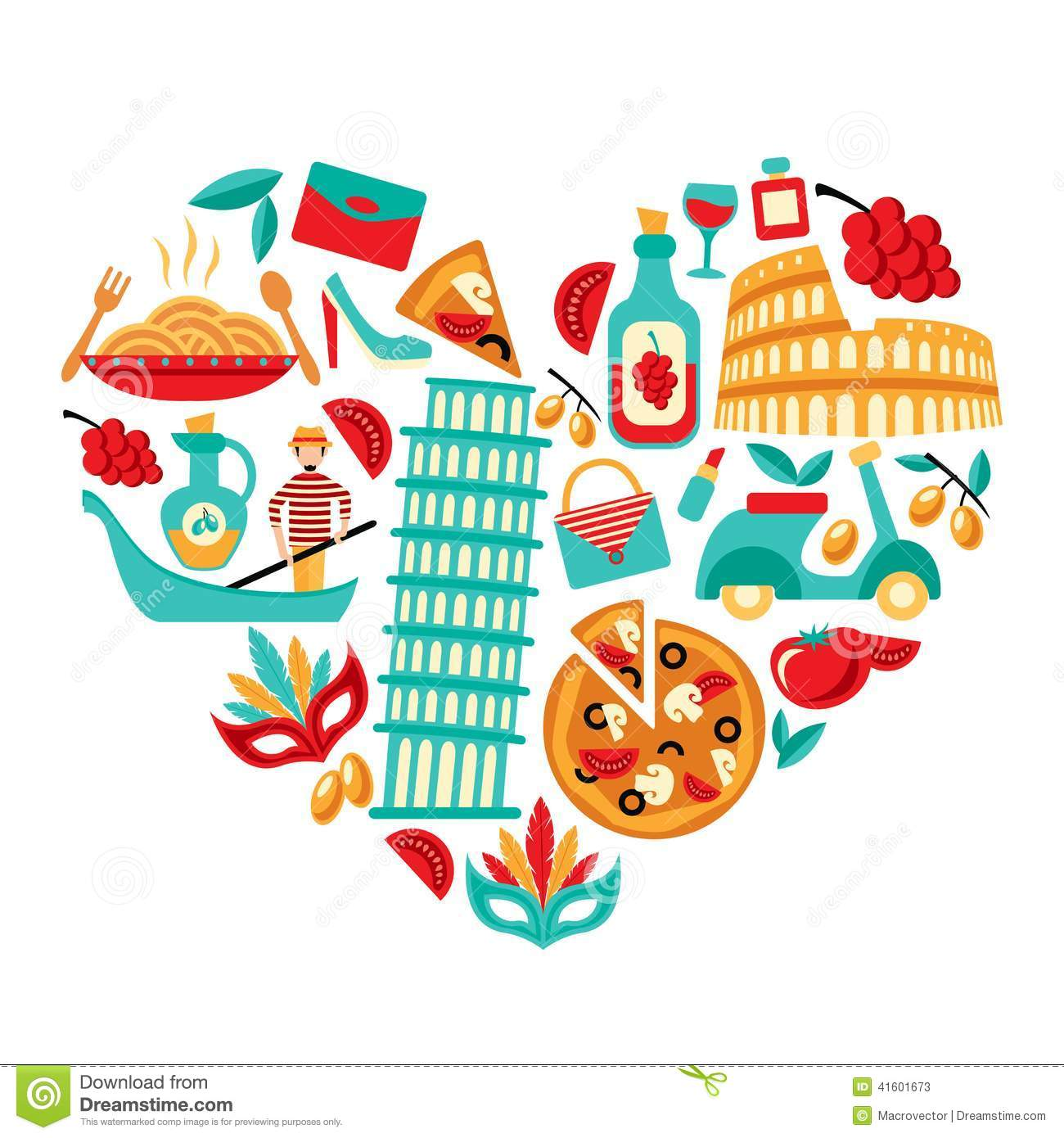 Italy Icons Heart Stock Vector Illustration Of Decorative