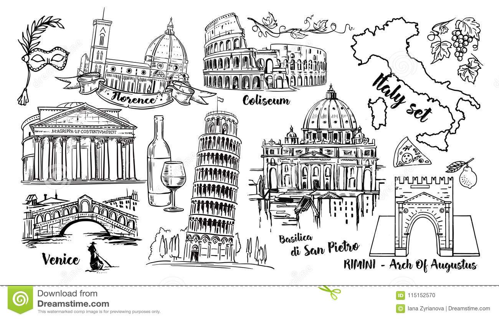 Italy Landmark Vector Sketch Set. Coliseum, bridges Venice, tower Pisa, Vatican, Rimini, Arch Augustus, Santa Maria del