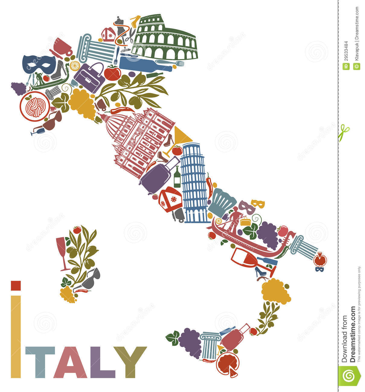 Italy Map Stock Images Image 29533484