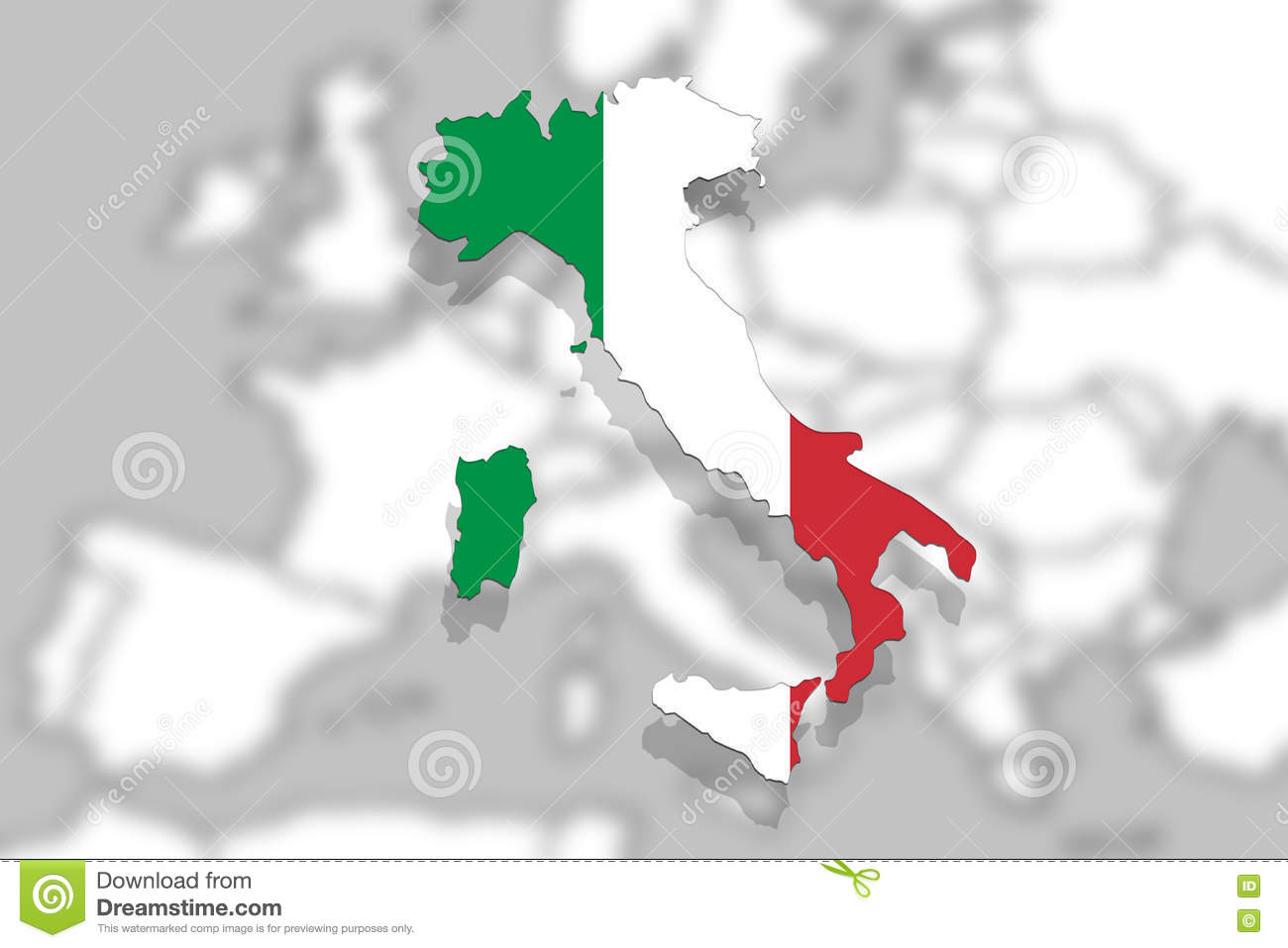 Italy Map And Flag On Europe Background Stock Image Image Of