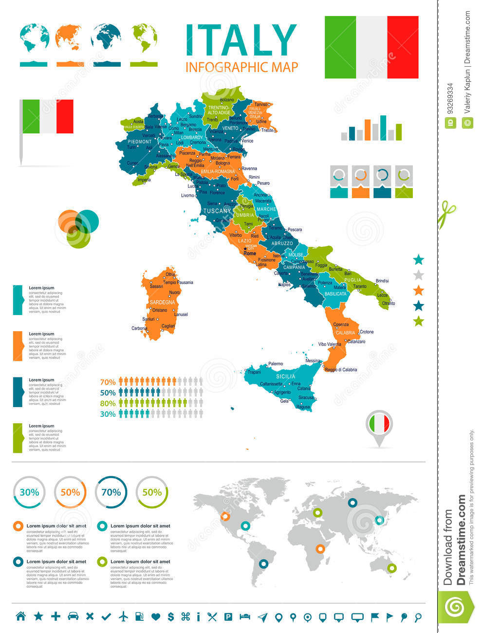 Italy Map And Flag Infographic Illustration Stock Illustration