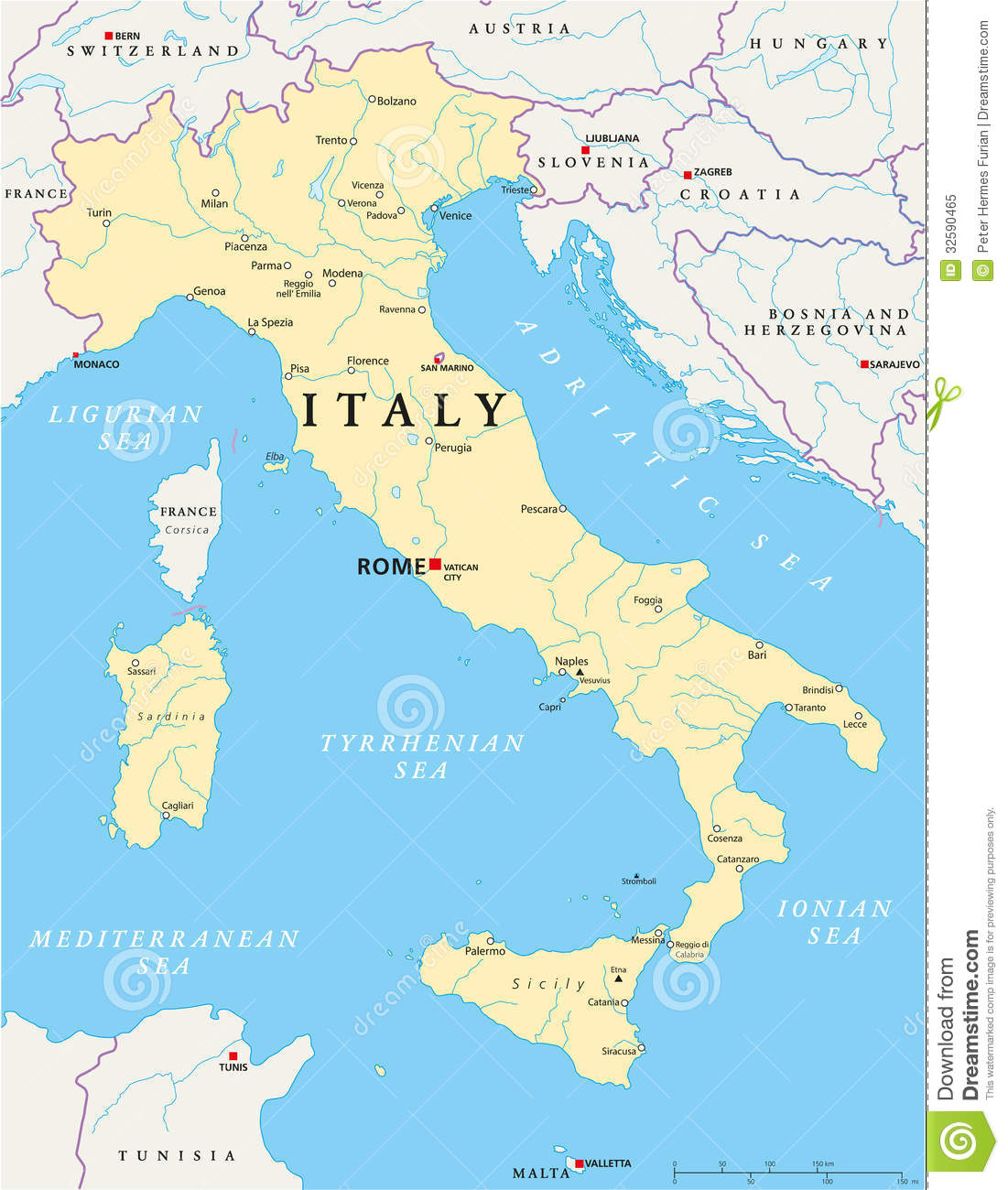 Detailed Map Of Italy In English.Italy Map Stock Vector Illustration Of Land Cagliari 32590465