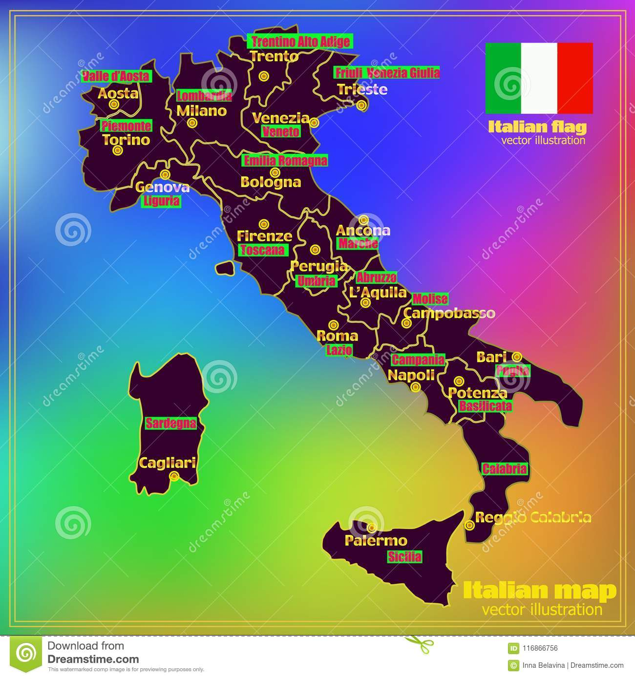 Map Showing Regions Of Italy.Italy Map With Italian Regions Vector Stock Vector Illustration