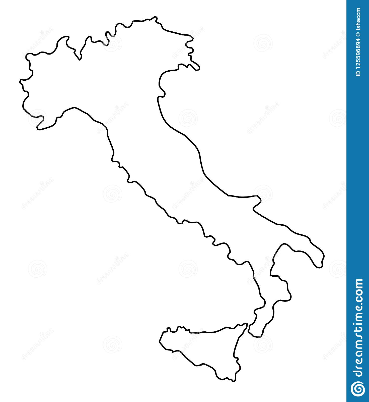 Italy Map Outline Vector Illustration Stock Vector   Illustration