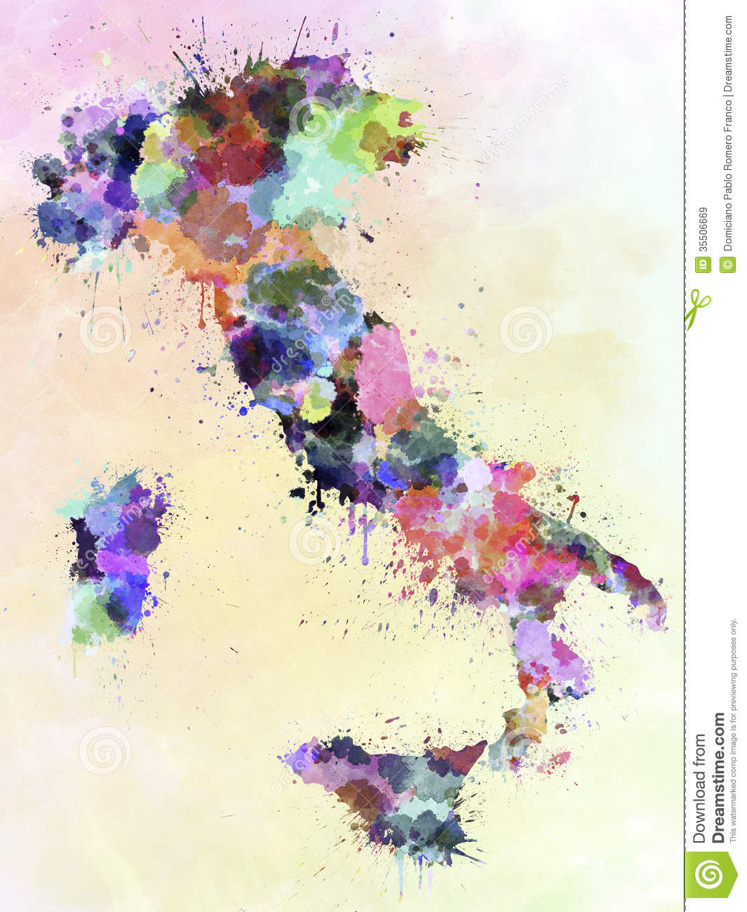 Italy Map Watercolor Style Splash Stock Illustration