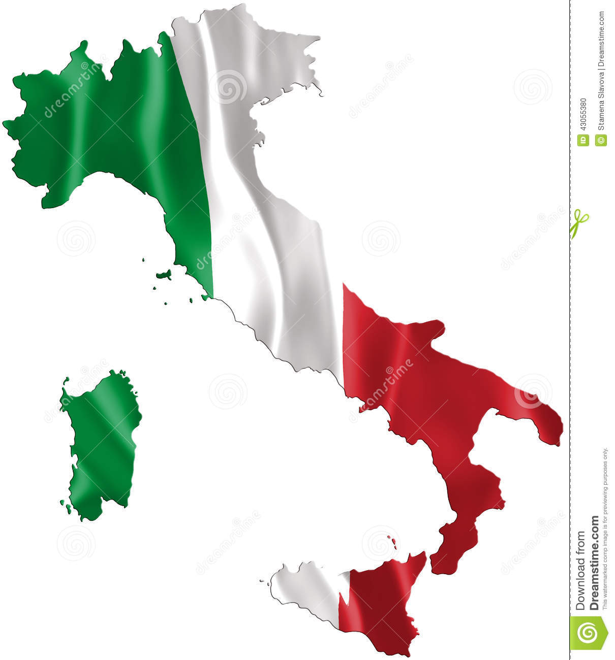 Italy map with waving flag, three dimensional render, satin texture.