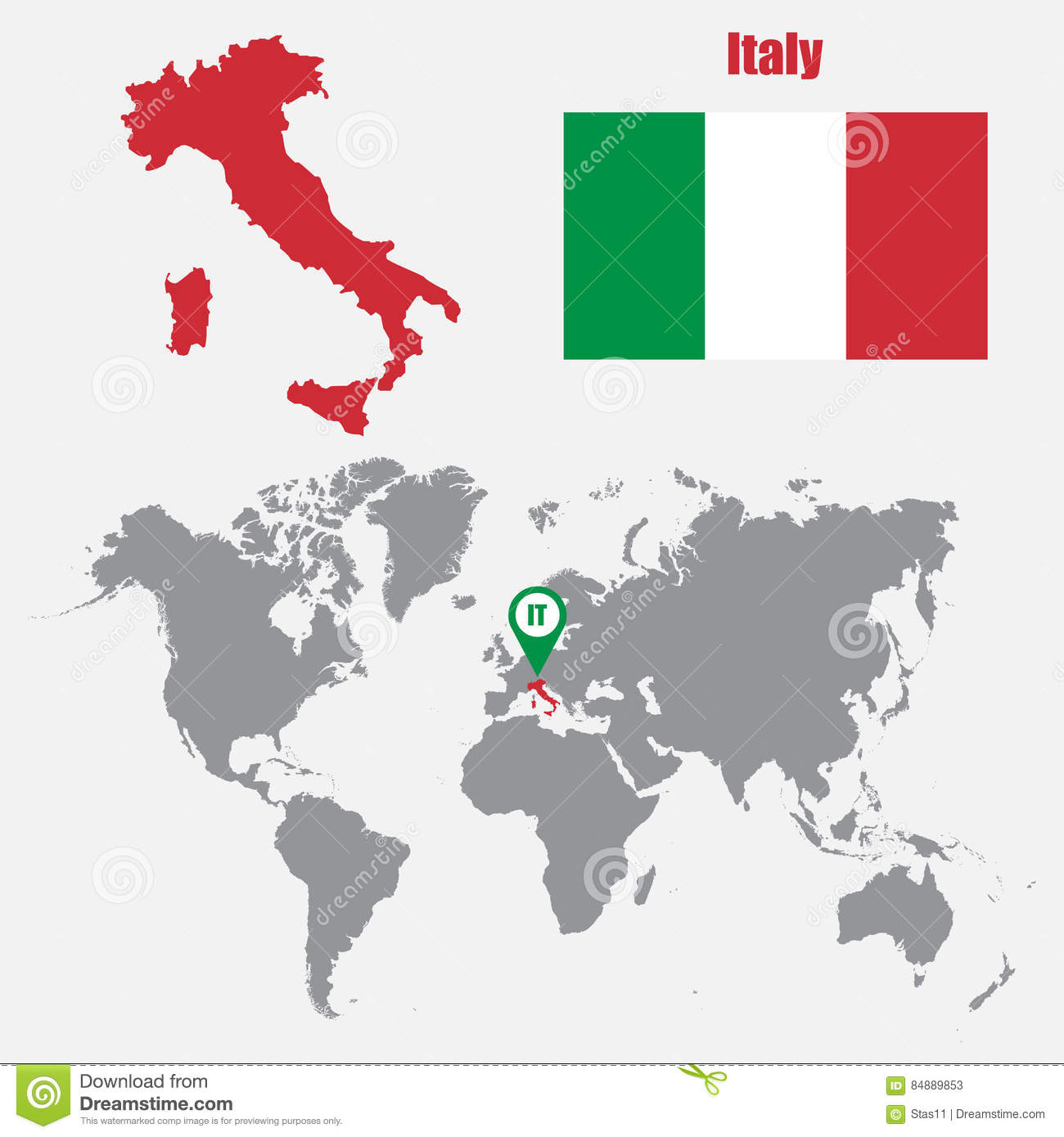 Italy Map On A World Map With Flag And Map Pointer Vector – Map World Italy