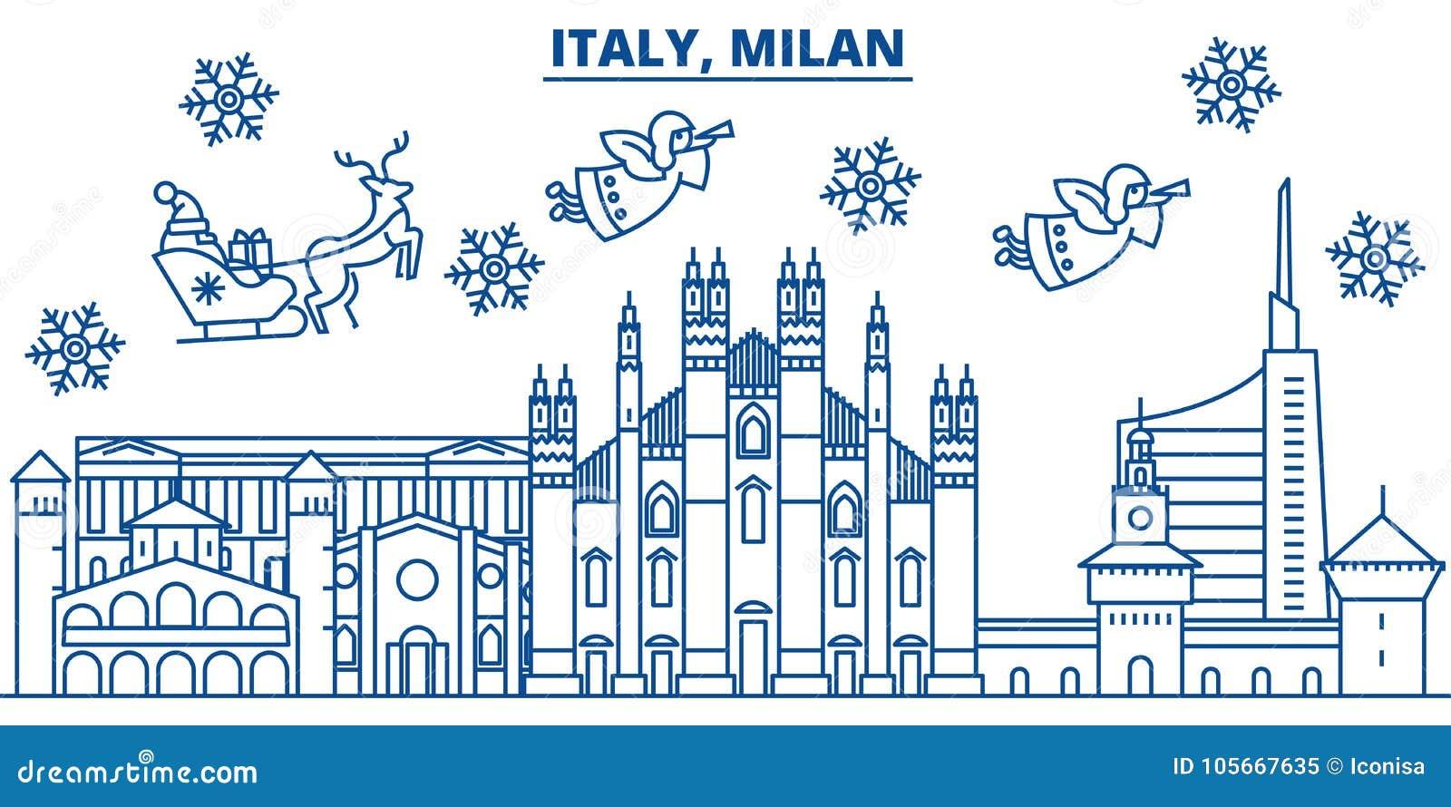 Italy, Milan Winter City Skyline. Merry Christmas, Happy Stock ...