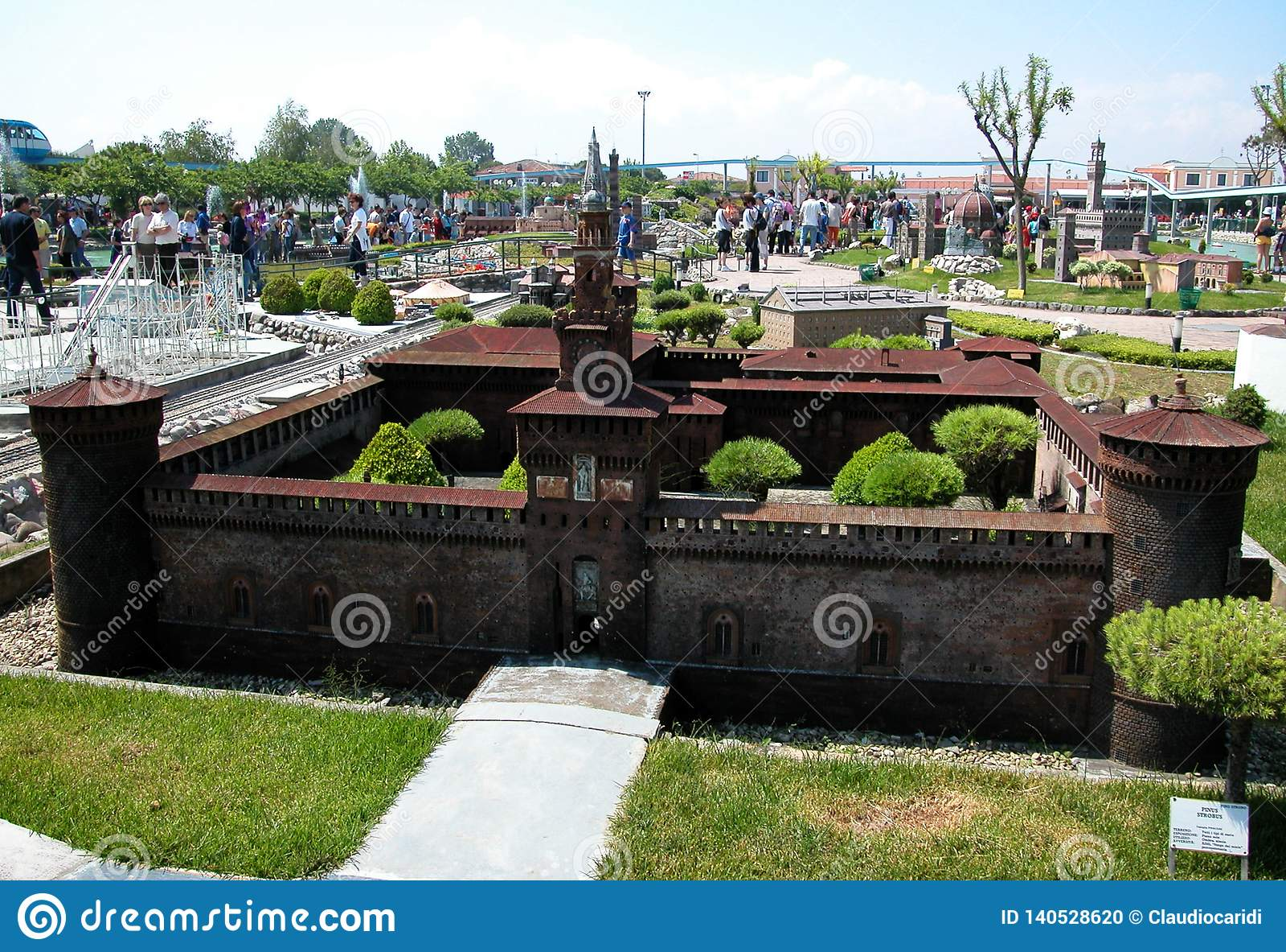 Fortress of Milan in the theme park `Italy in miniature` Italia in miniatura Viserba, Rimini, Italy