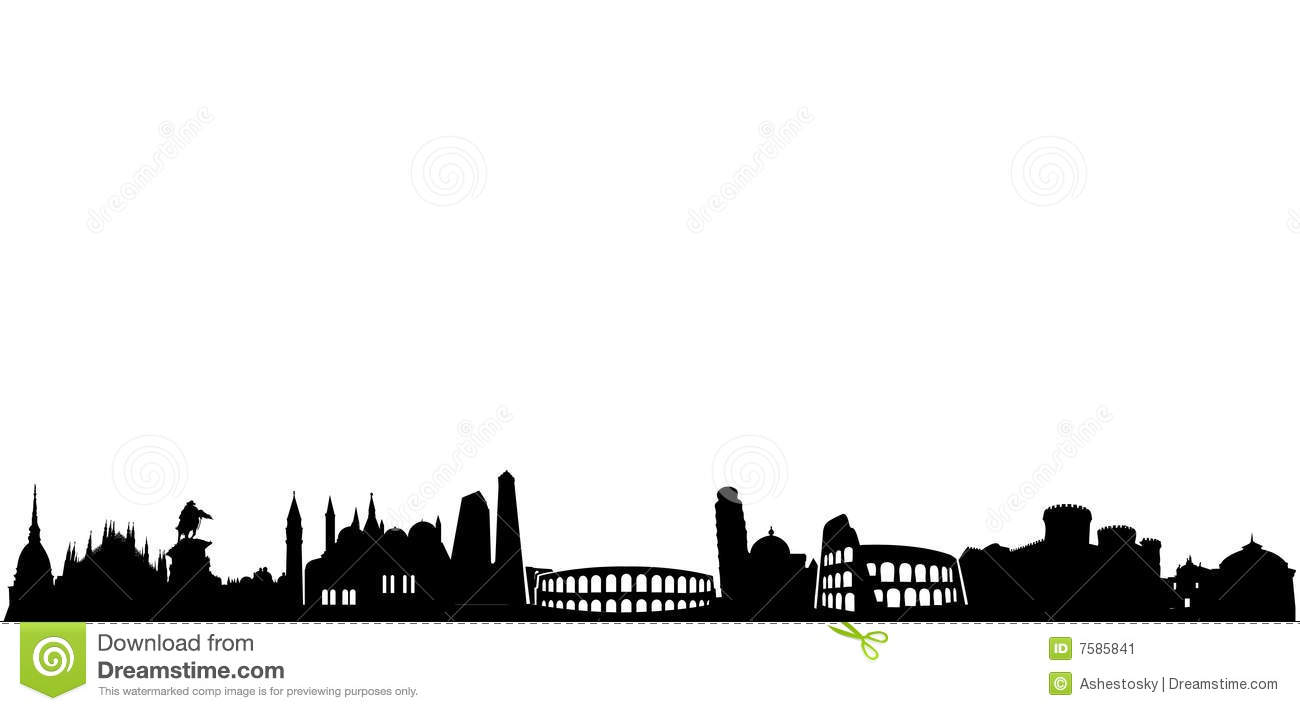 Vector illustrations of most famous italian monuments all in a row as ...